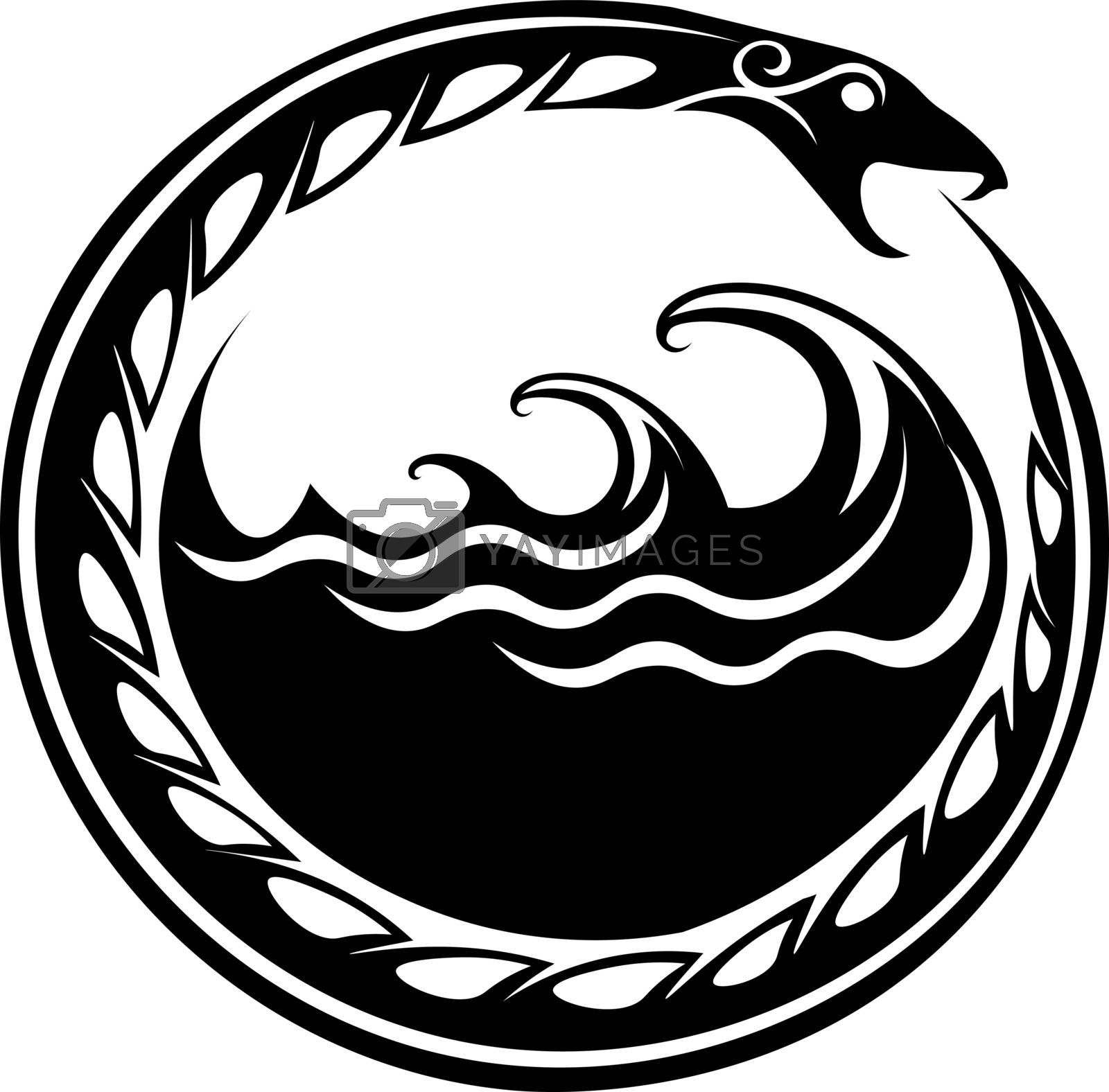 Occult symbol ouroboros in the water in old scandinavian style
