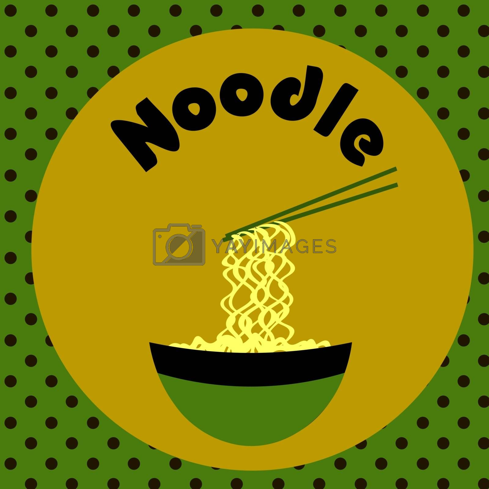 Funny colorful fastfood template with text, noodles bowl and chopsticks
