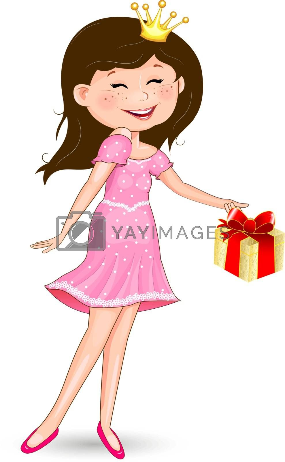 Princess in a pink dress and with a gift on a white background.