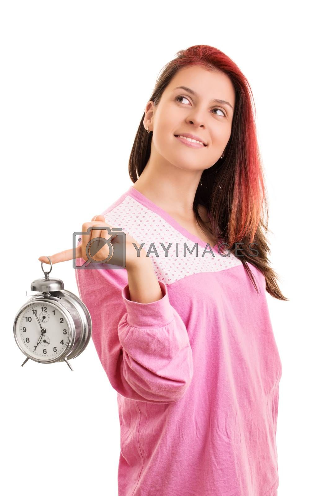 Portrait of a girl in pajamas holding an alarm clock by Mendelex