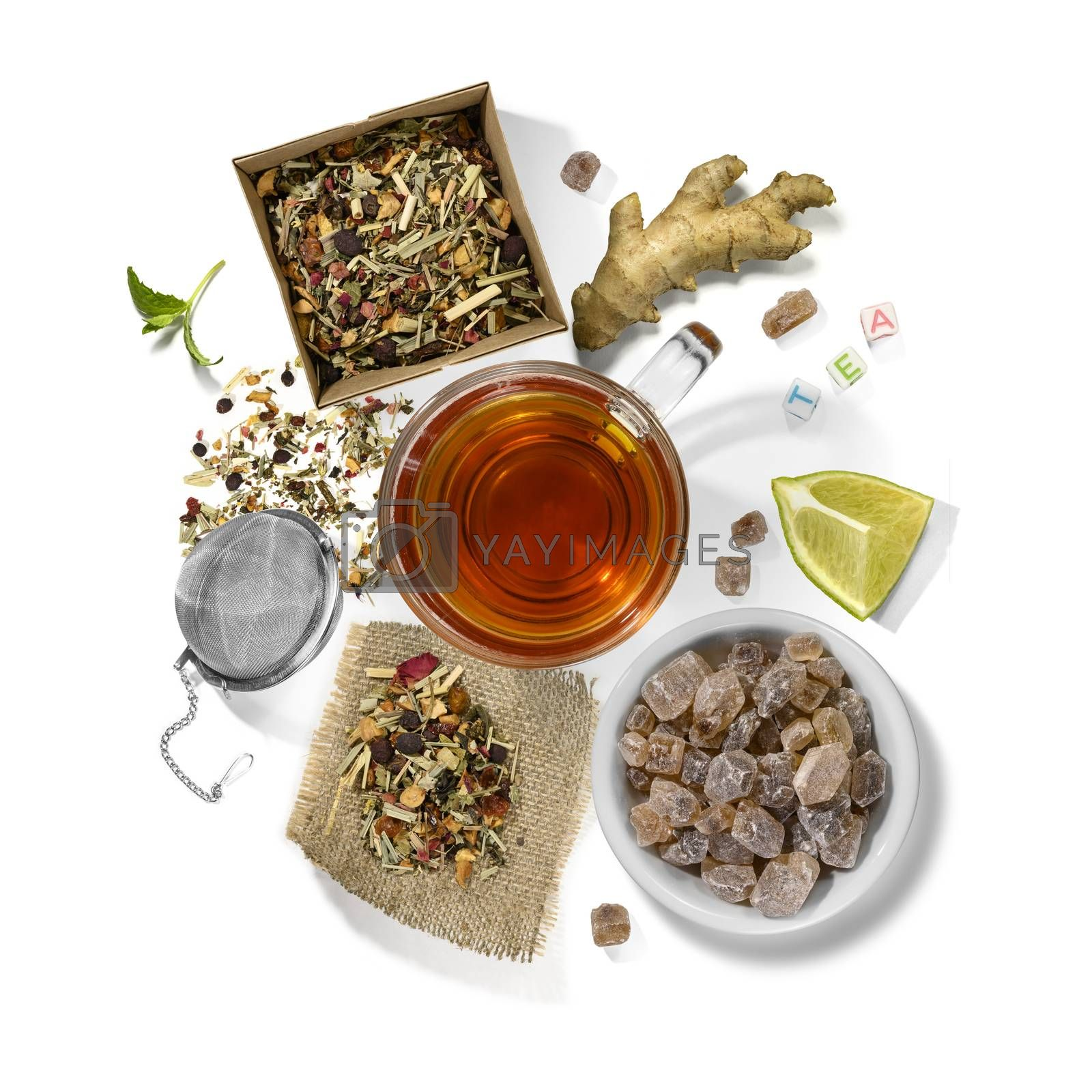 Picking of herbs, berries, tea and accessories. Top view on white background.