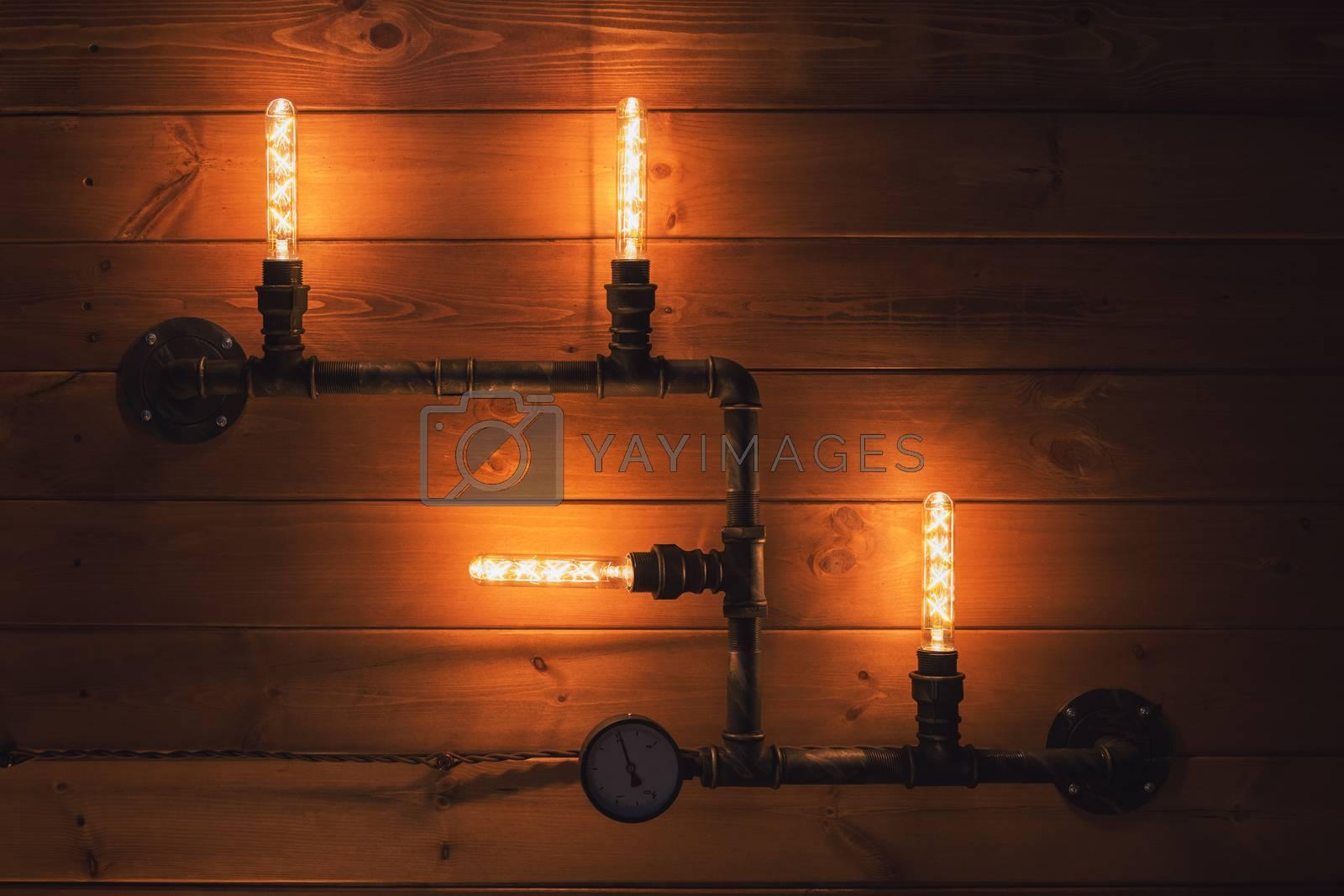 Beautiful retro edison light lamp decor background