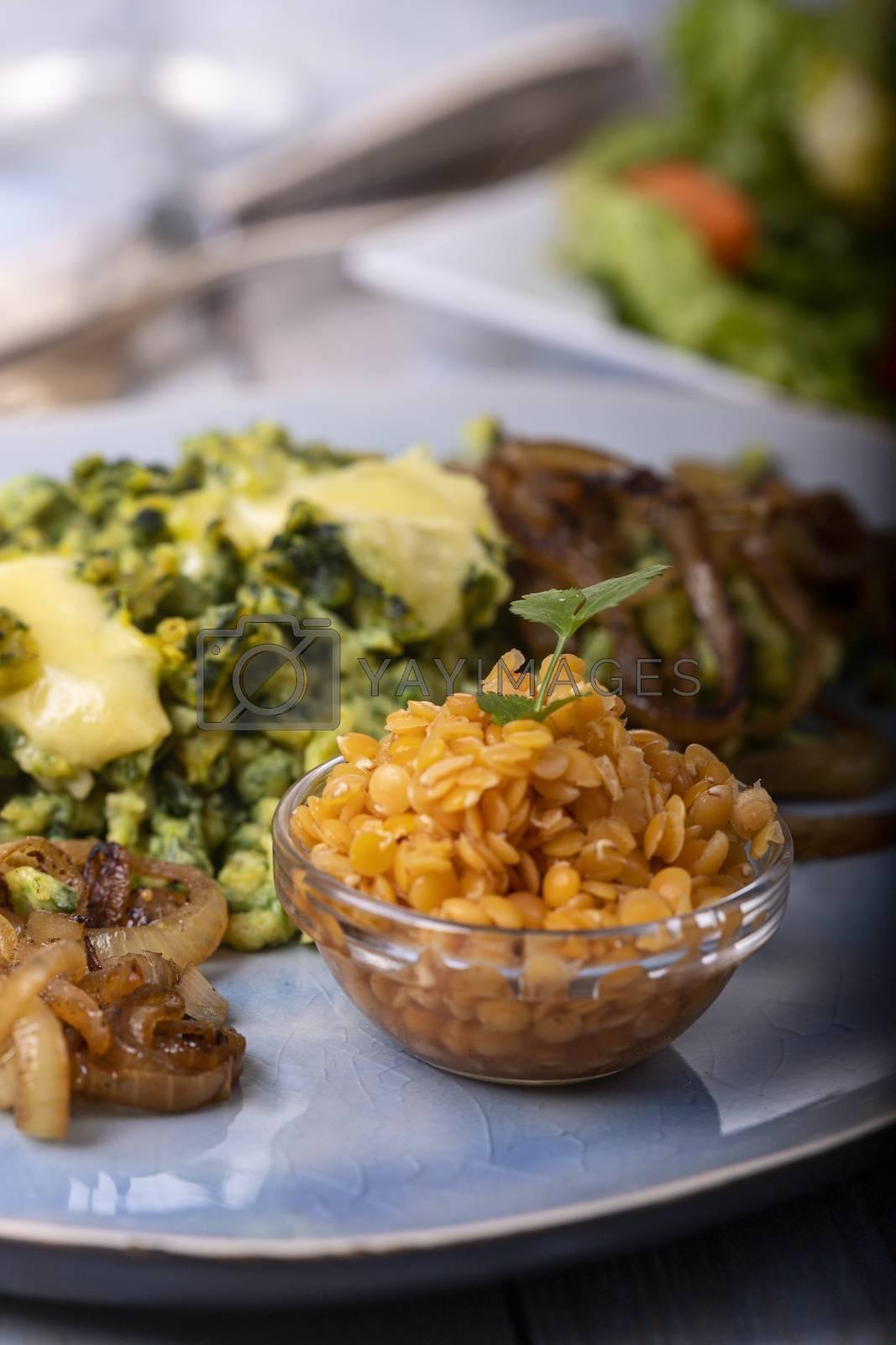 bavarian spinach spaetzle on a plate