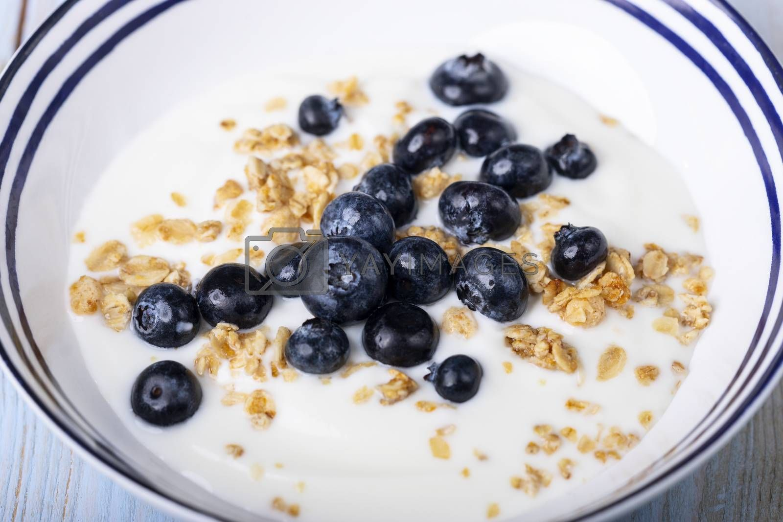 blueberries with muesli and yoghurt in a bowl