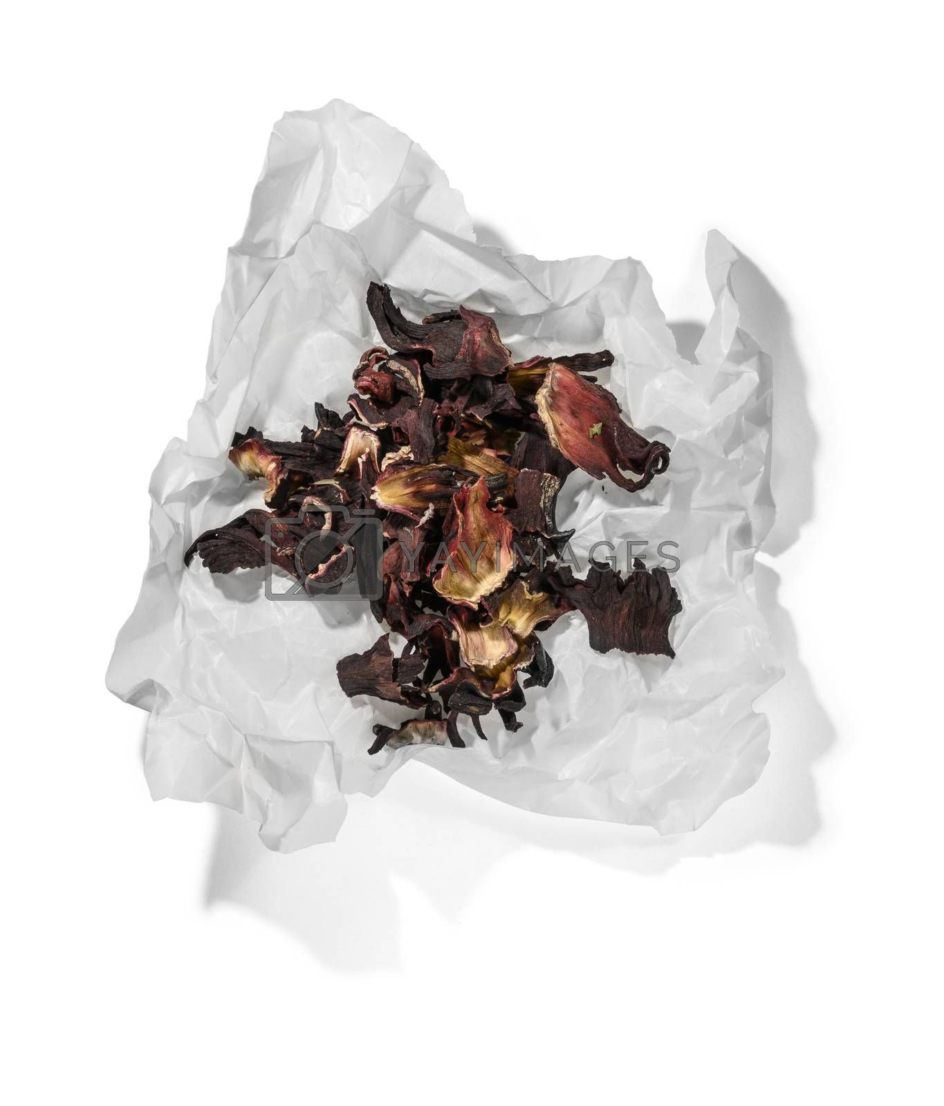 Hibiscus tea for making a drink on a white background.