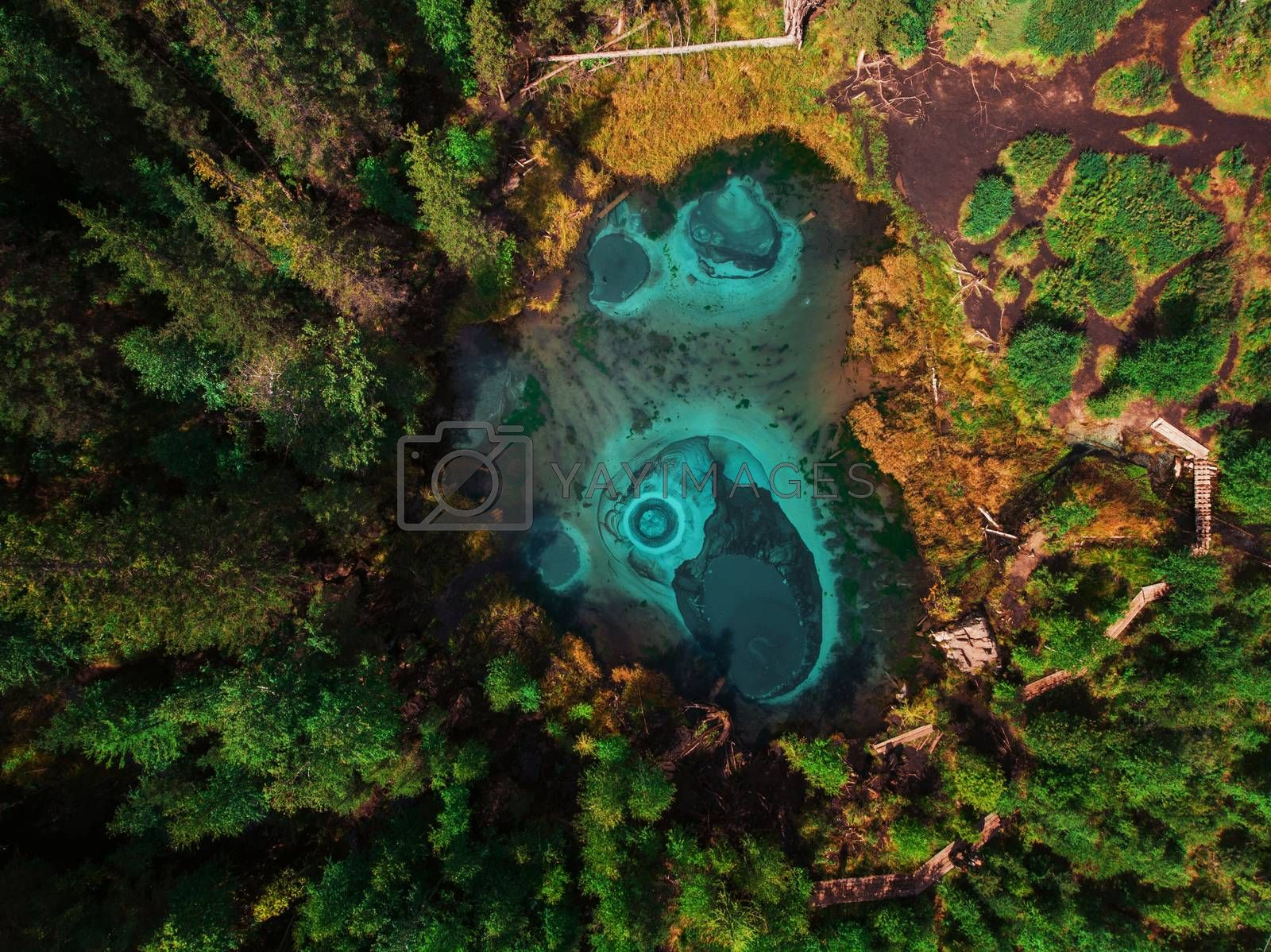 Royalty free image of Geyser blue, silver lake with thermal springs by rusak