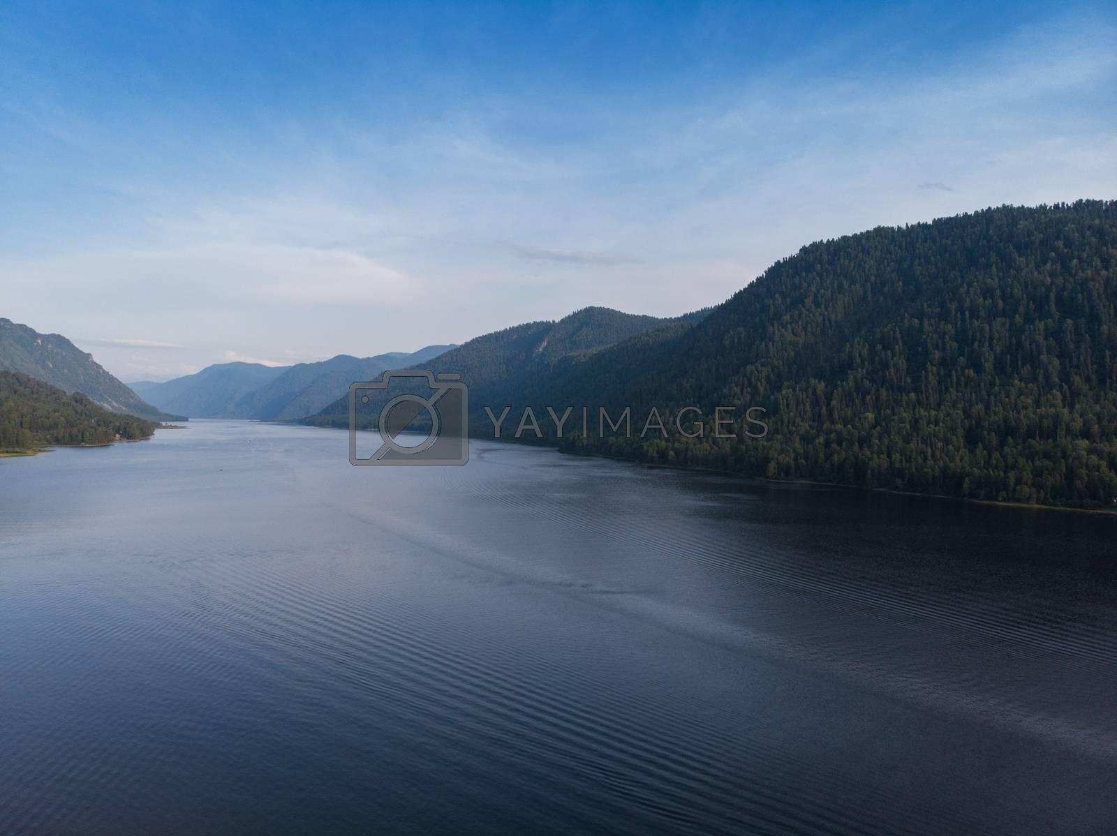 Royalty free image of Aerial view on Teletskoye lake in Altai mountains by rusak