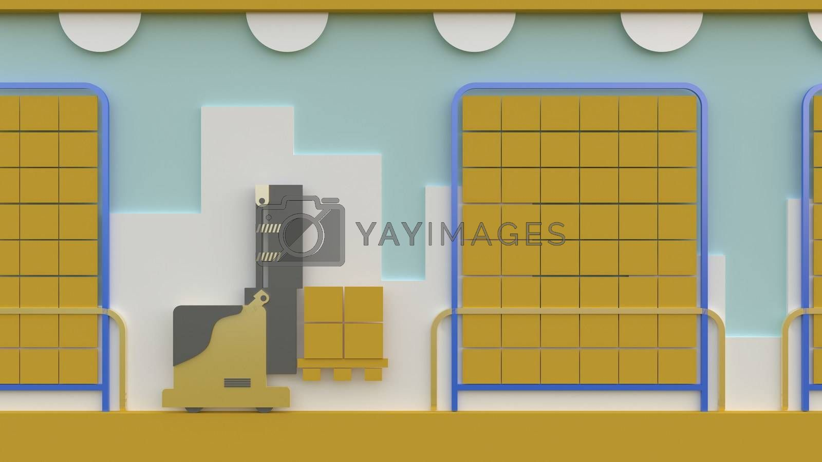 3d rendering , 3d illustrator,Yellow forklift Lifting items to arrange in the warehouse. by put3d