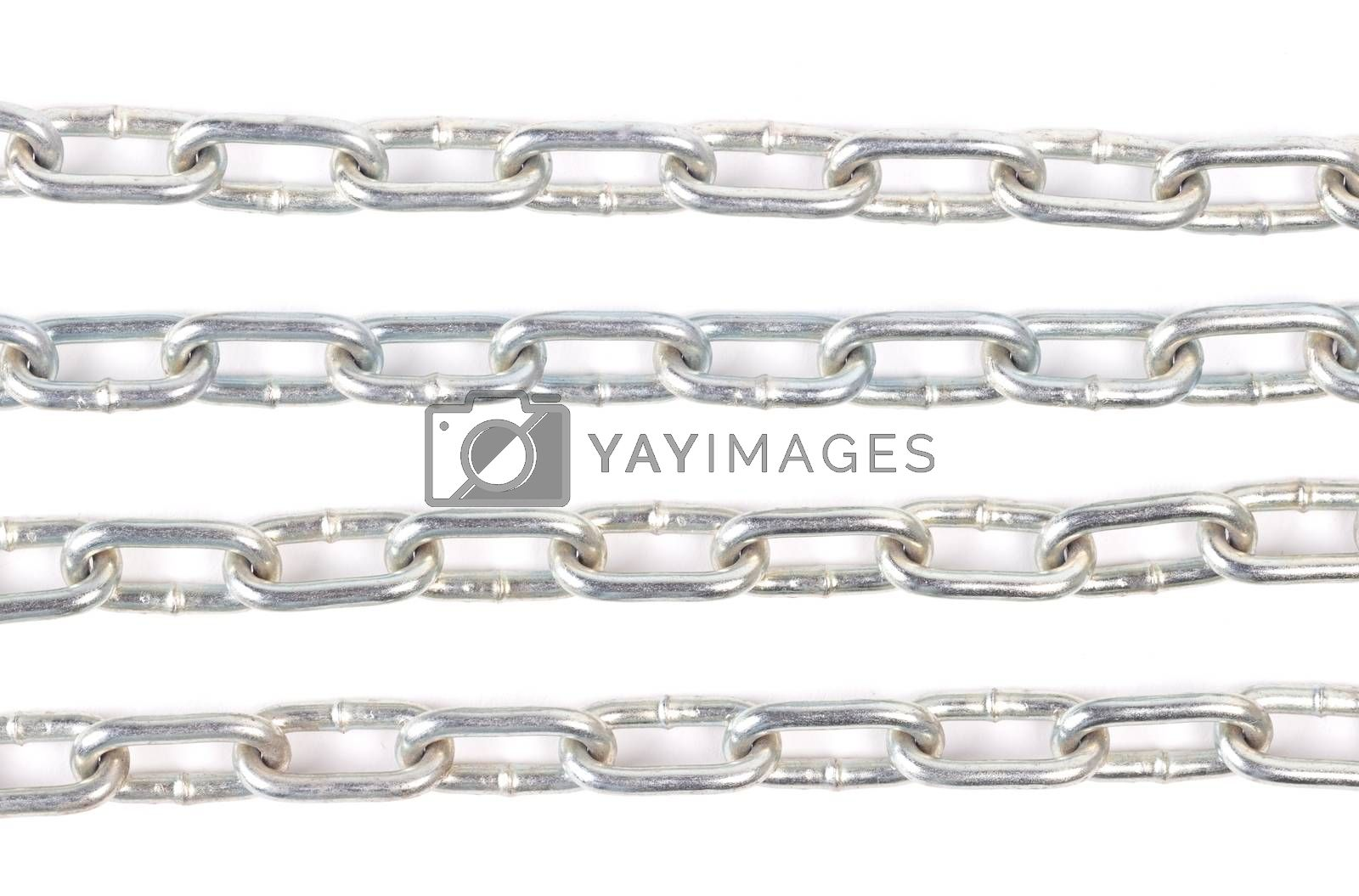 Long silver colored chain isolated on white