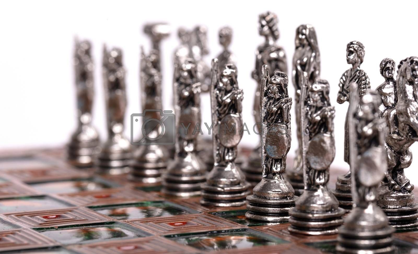 Metal chess pieces, for business strategy concept, isolated