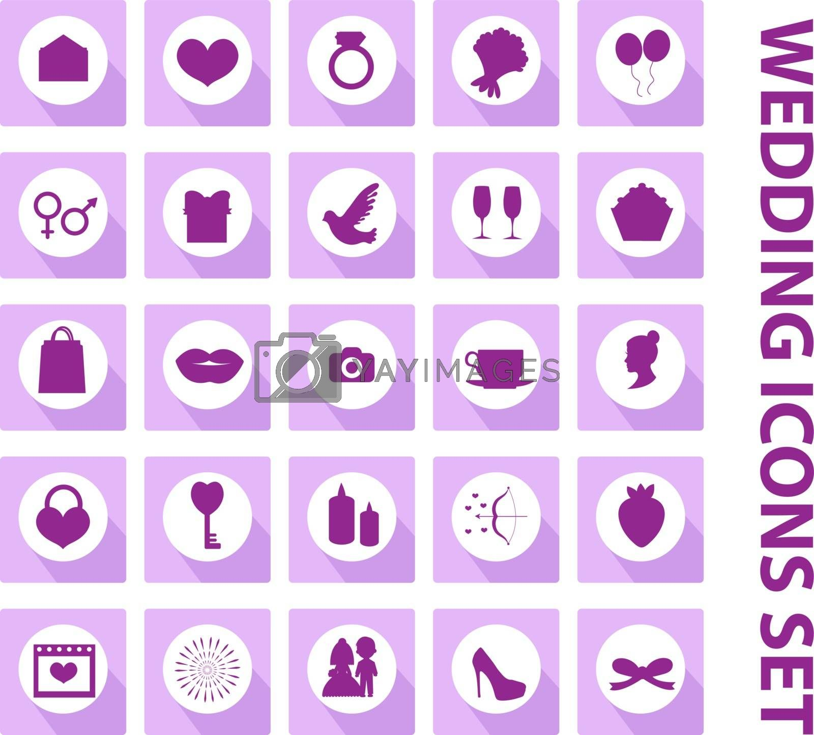 Wedding set of icons, design elements, black silhouette with long shadows.Marriage and romance of a collection of objects with ring, bride, groom, balloons, hearts, flowers. Vector illustration.