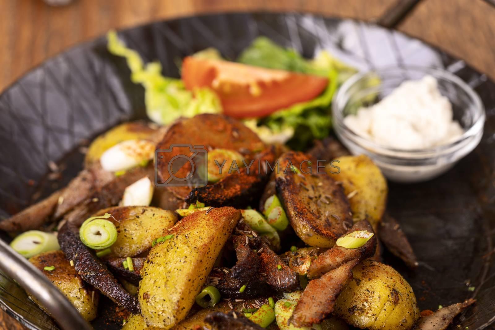 tyrolean potato groestl in a pan  by bernjuer