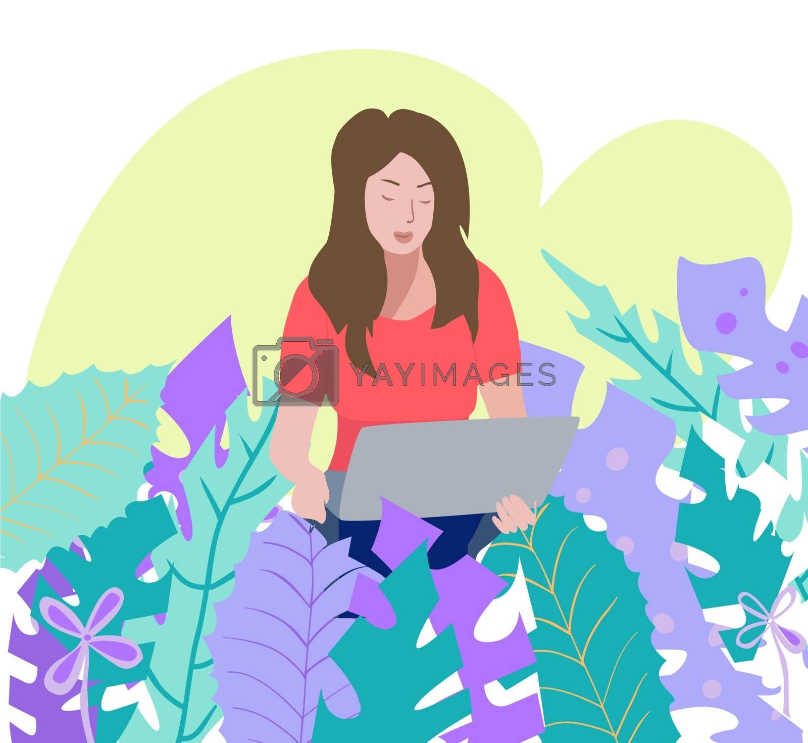 Vector hand drawn illustration with Young Beautiful Girl relaxing working on Notebook sitting and Holding Laptop surrounded by tropical leaves.
