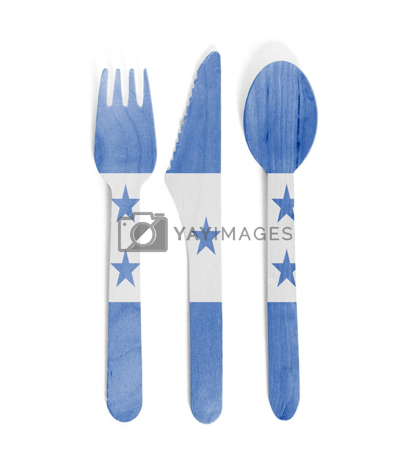 Eco friendly wooden cutlery - Plastic free concept - Isolated - Flag of Honduras