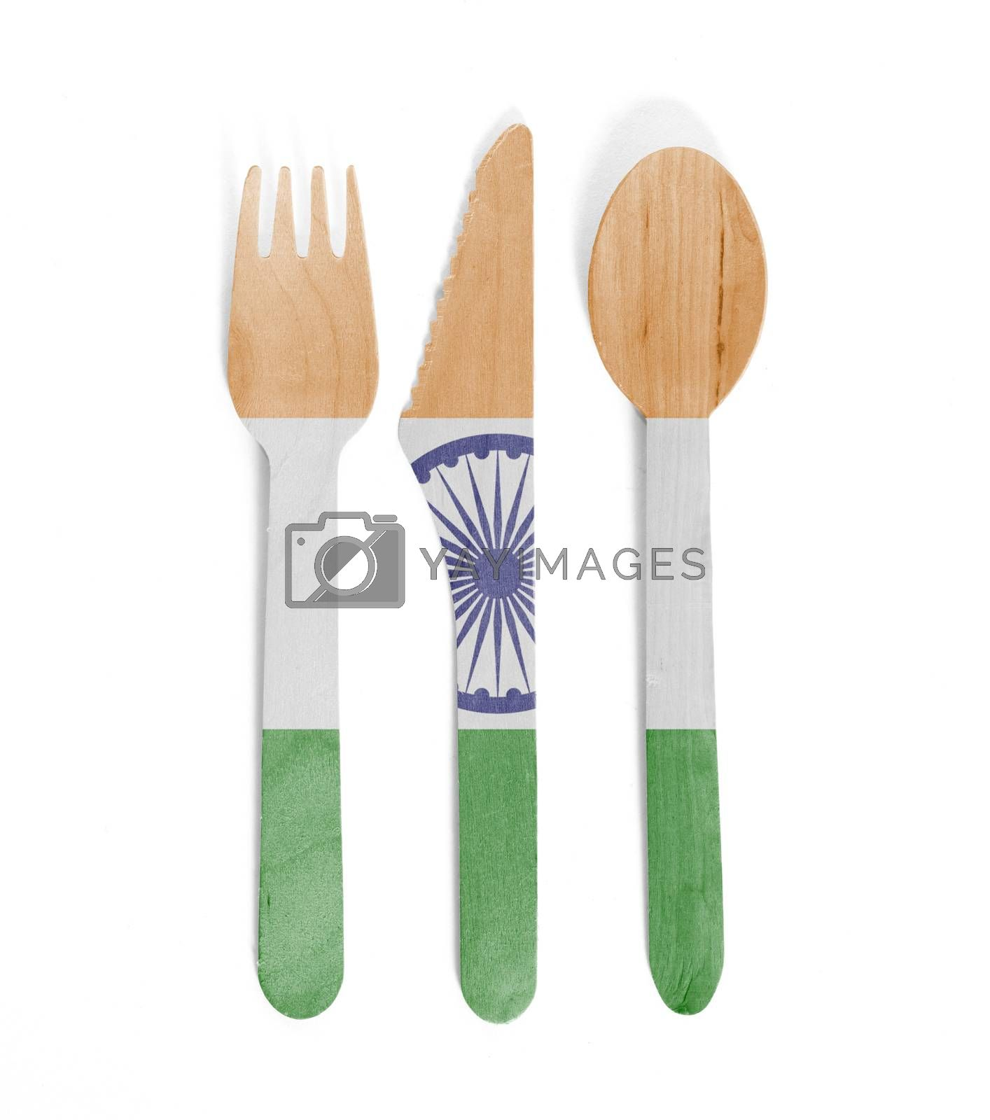 Eco friendly wooden cutlery - Plastic free concept - Isolated - Flag of India