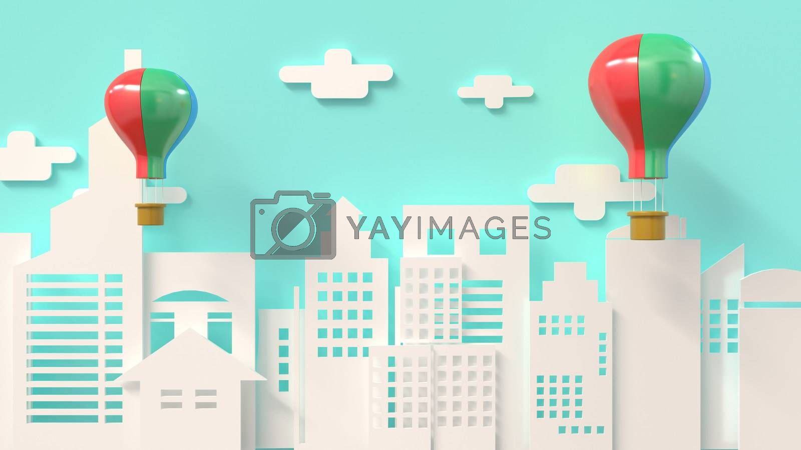 3d rendering, 3d illustrator, Balloon send gift Entering the New Year's Festival by put3d