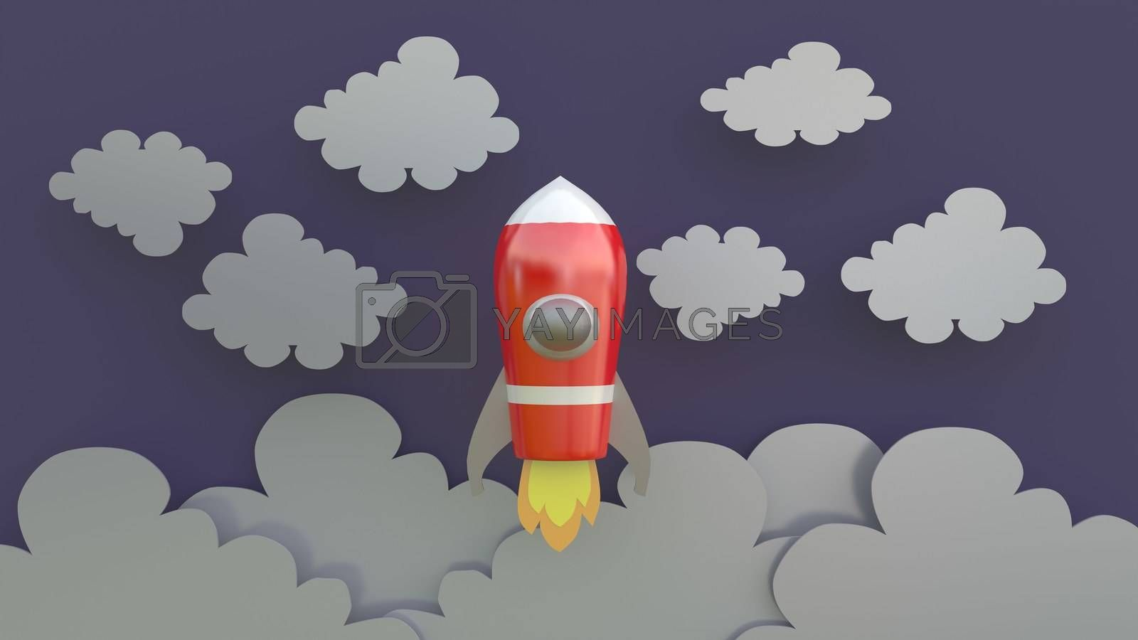 3d rendering, 3d illustrator, Cartoon red spaceship Rising into the sky through the clouds