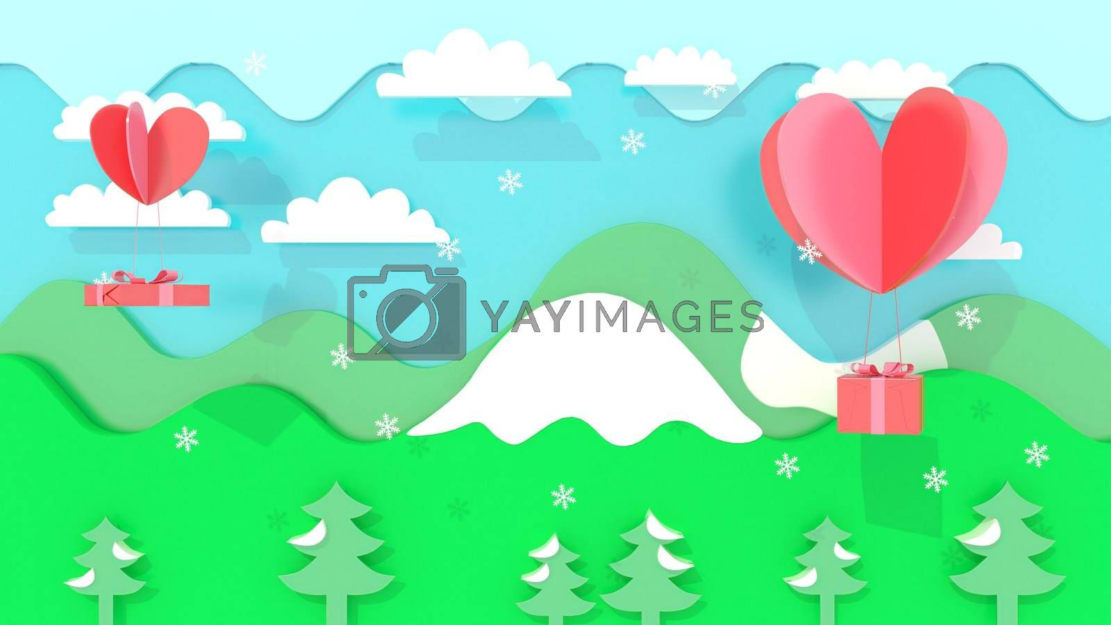 3d rendering, 3d illustrator, Sending gifts by heart. Mountain and nature views by put3d