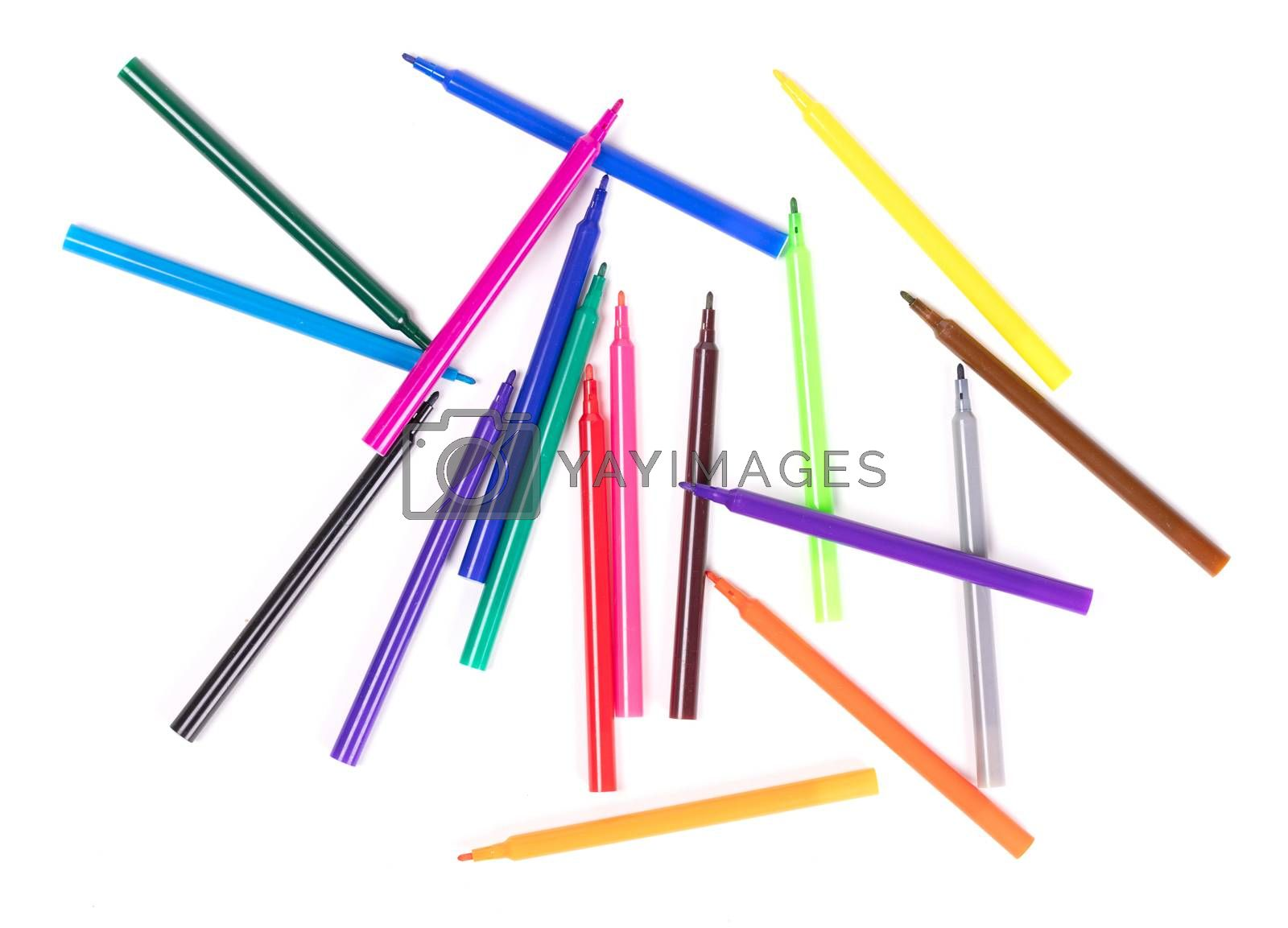 Collection of felt-tip pens isolated on white background