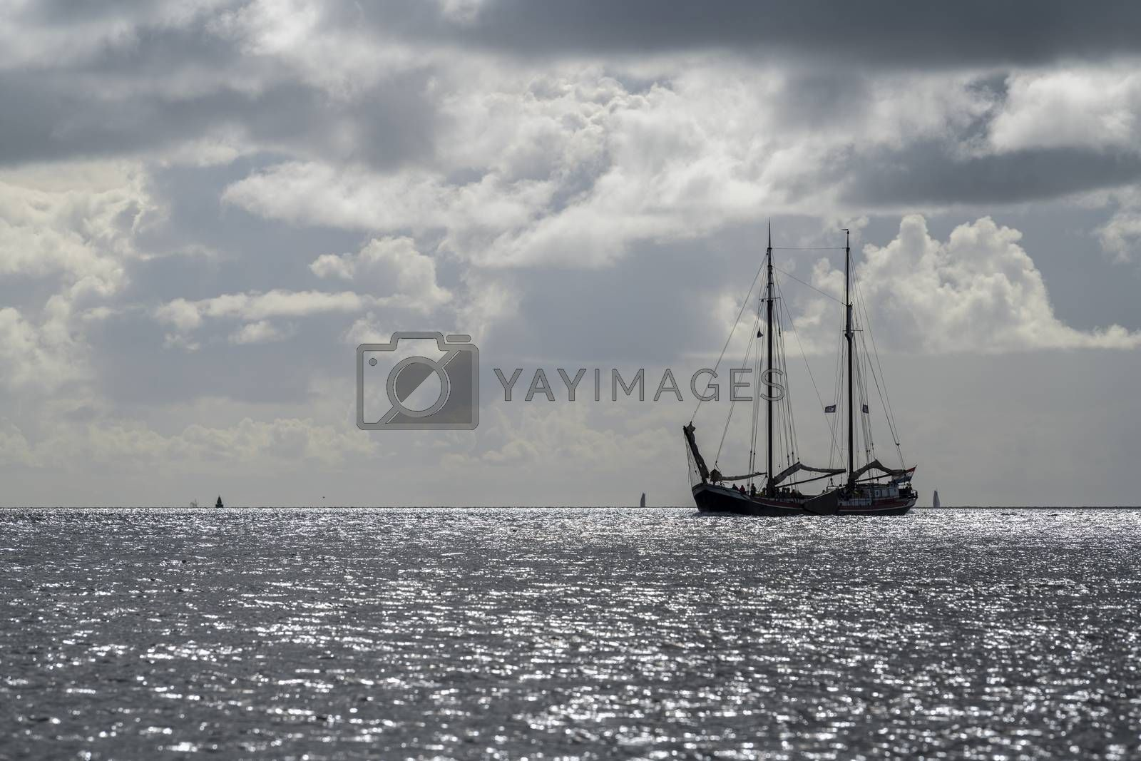 Sailboat against the glare of the sun in the Wadden Sea near the island of Terschelling
