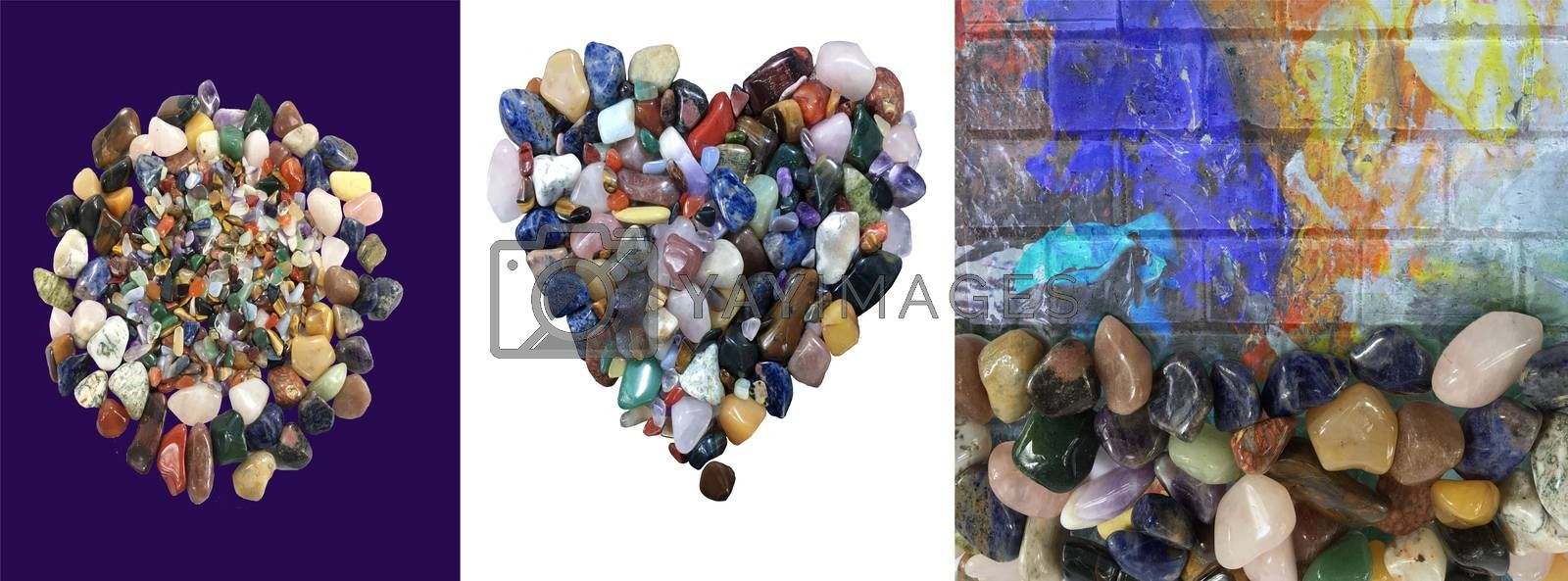 Beautiful tree background of colorful various gemstones made in heart shape and on painting wall decoration texture.