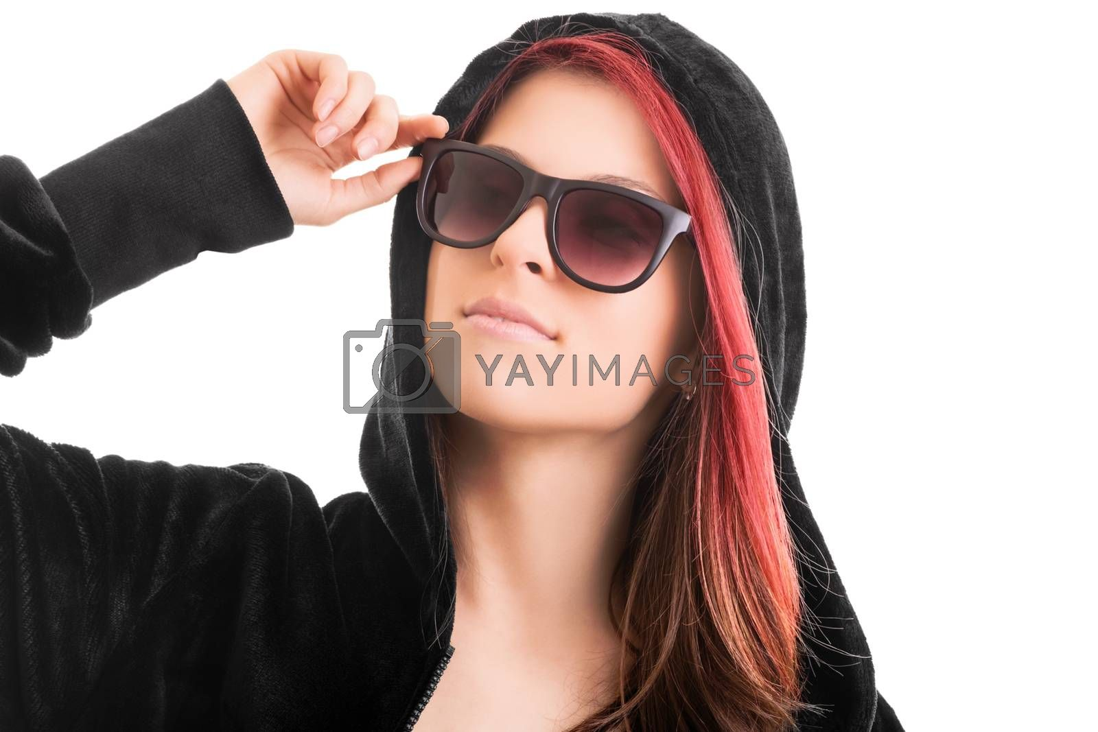 Beautiful stylish girl with black hoodie and sunglasses, isolated on white background. Tomboy female with black hoody and sunglasses. Rebel concept.