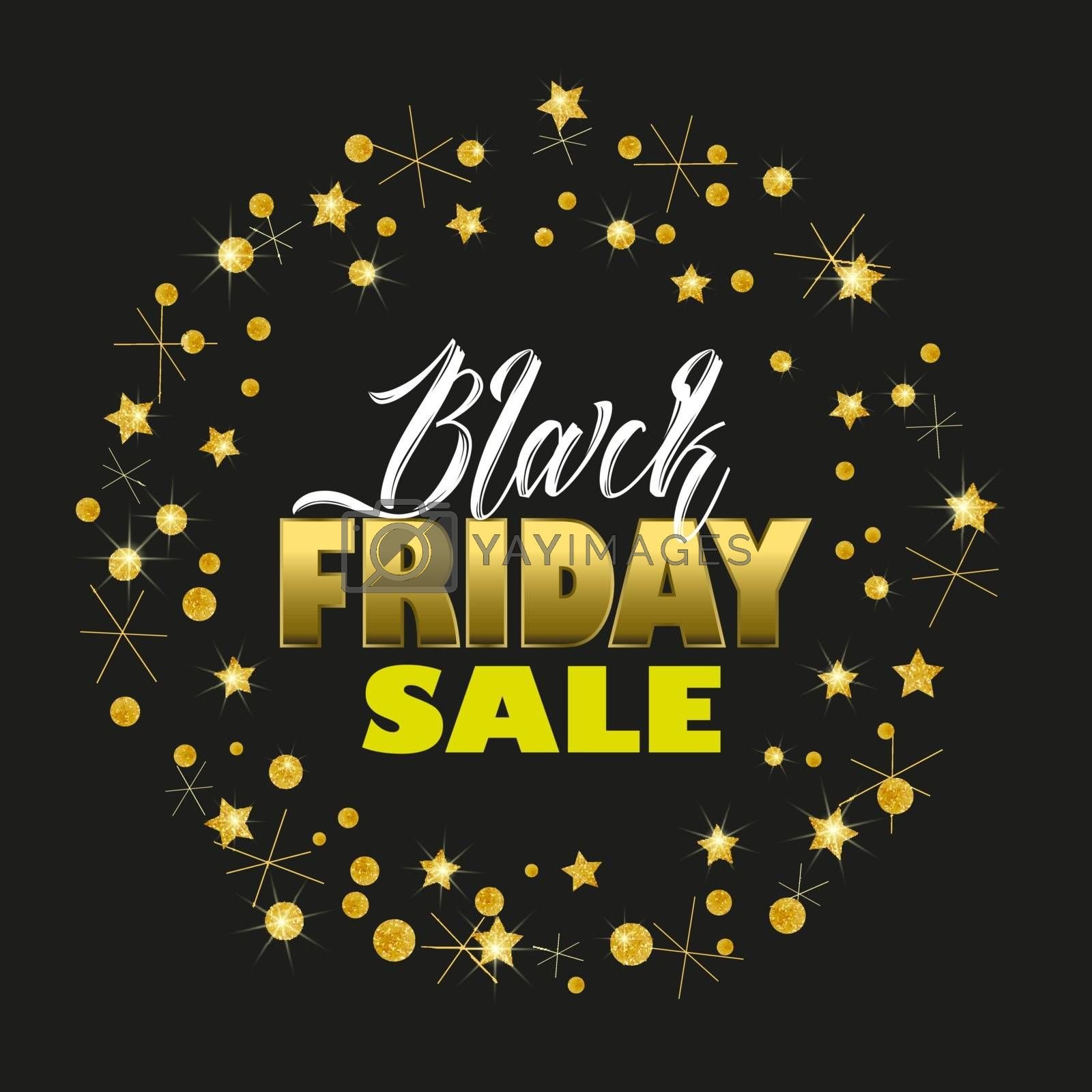 Vector illustration of a Black Friday Sale background, brochure, banners. Card with golden stars. Gold decoration on black background