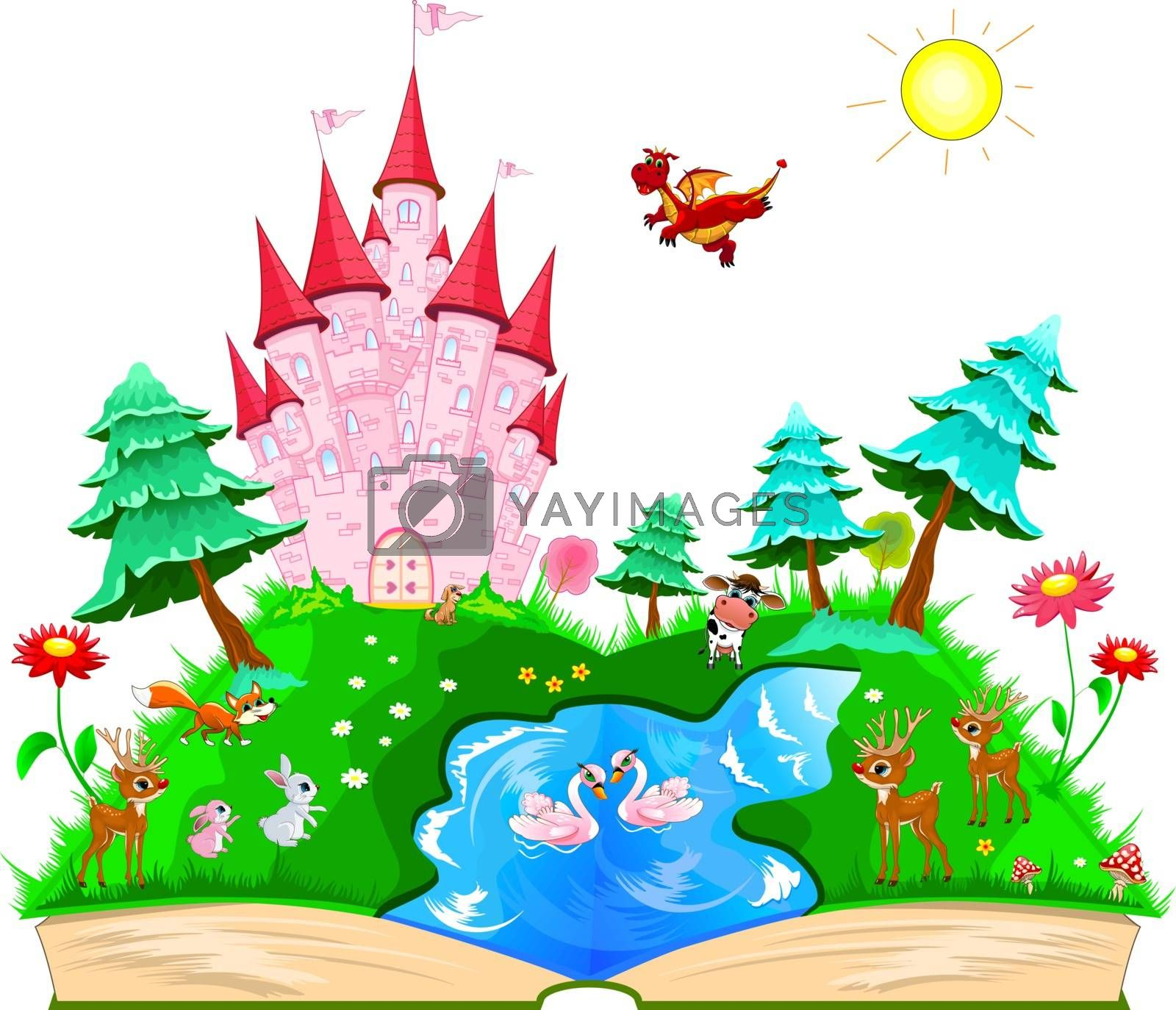 Open fairytale book. On the pages of a pink castle, various animals, a river, a forest and flowers.