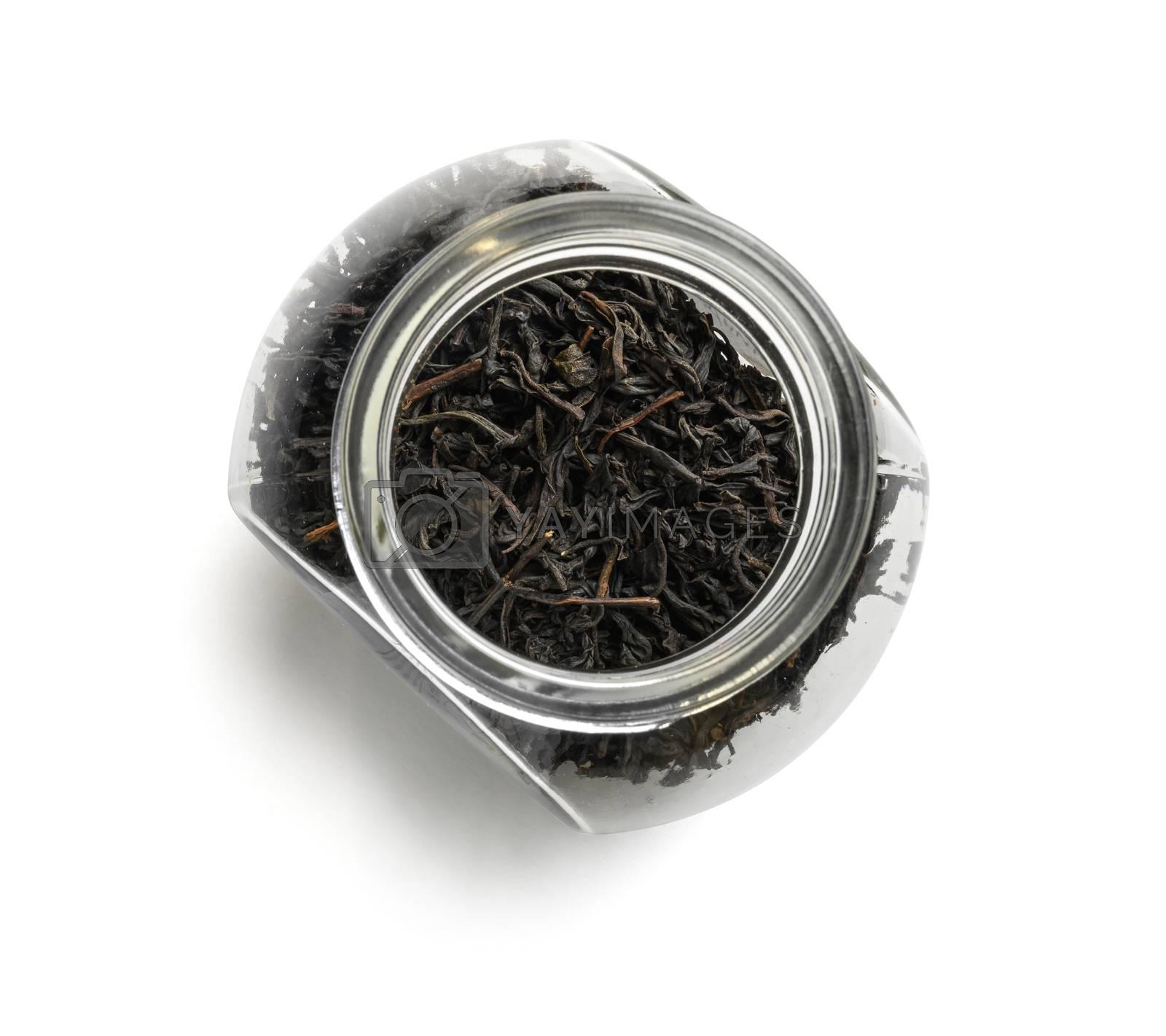 Black tea top view on white background.