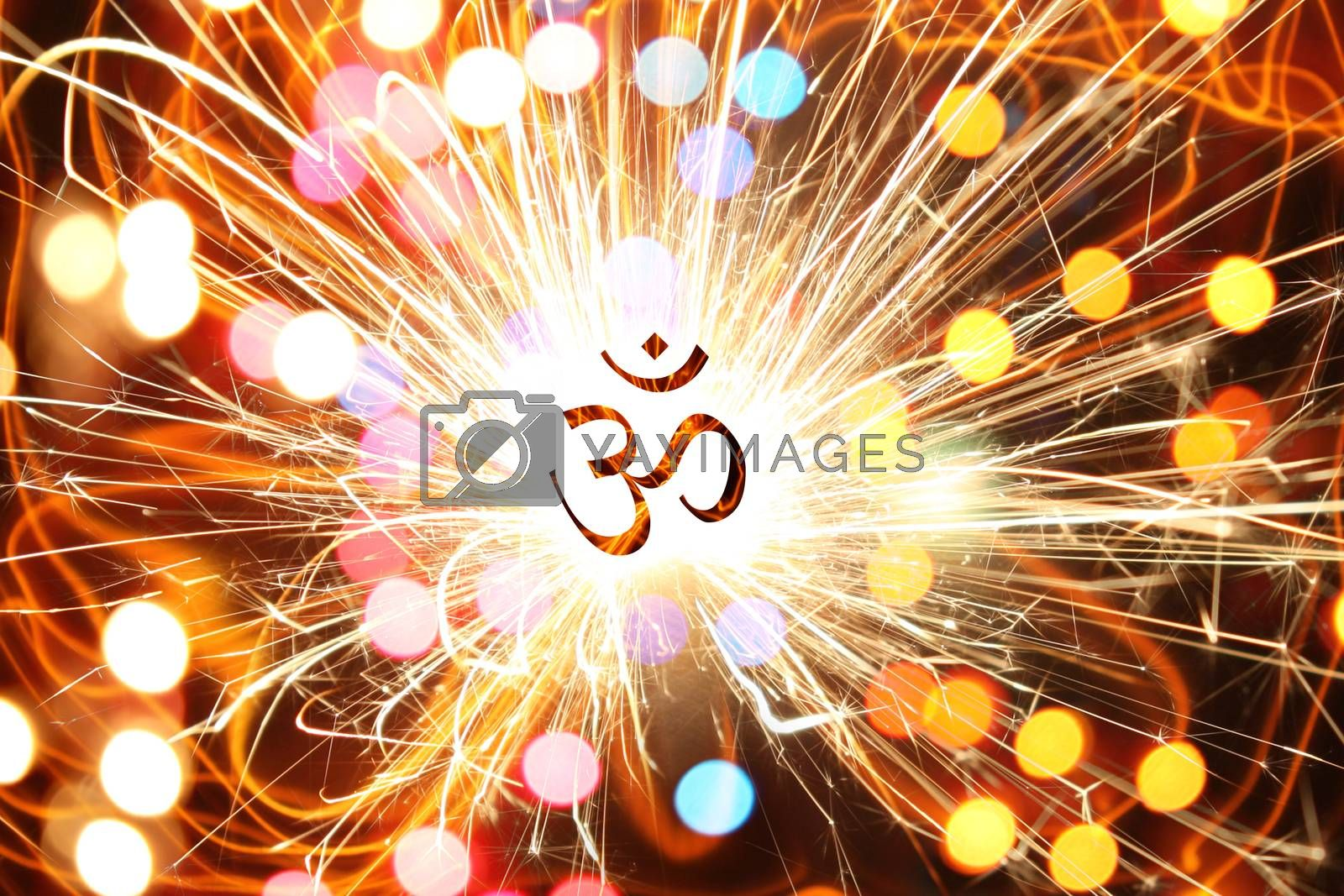 An abstract art showing the enerigies and powers around the Hindu Symbol OM, depicting healing, spiritual or religious energies.