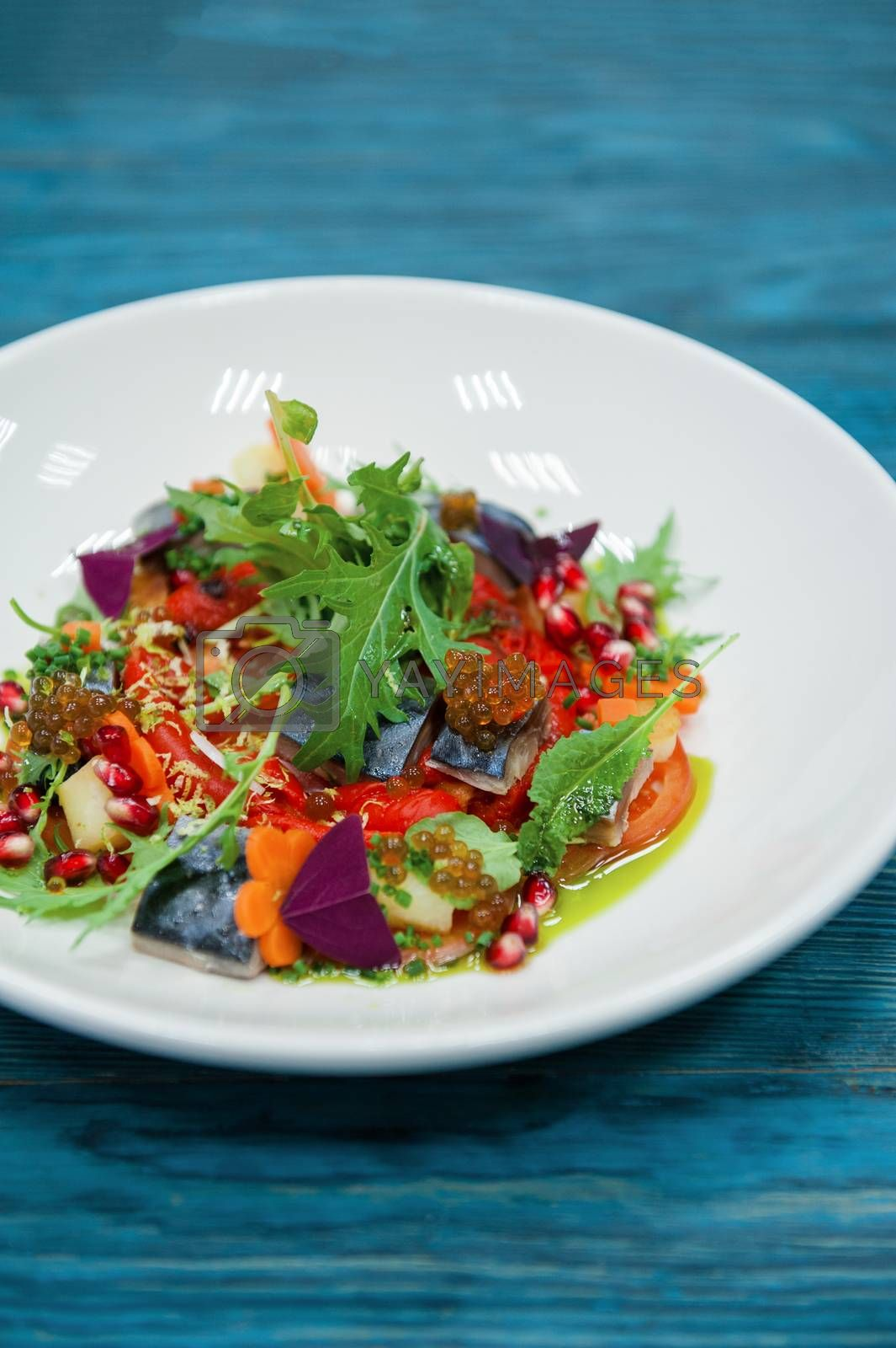 Royalty free image of Escabeche fish dish with caviar: by rusak
