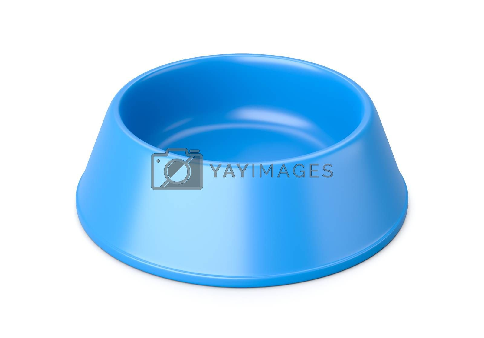 Empty Blue Plastic Pets Bowl Isolated on White Background 3D Illustration