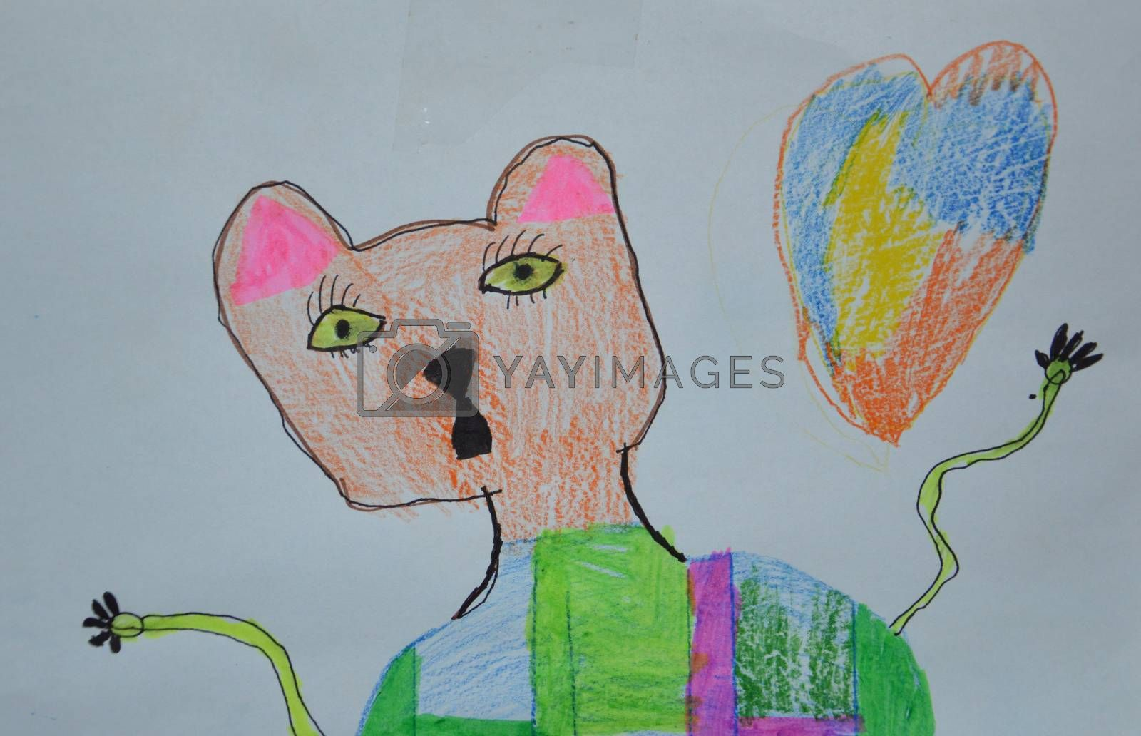 Children's drawing of a bear drawn with felt-tip pens and pencil by Prokopenko