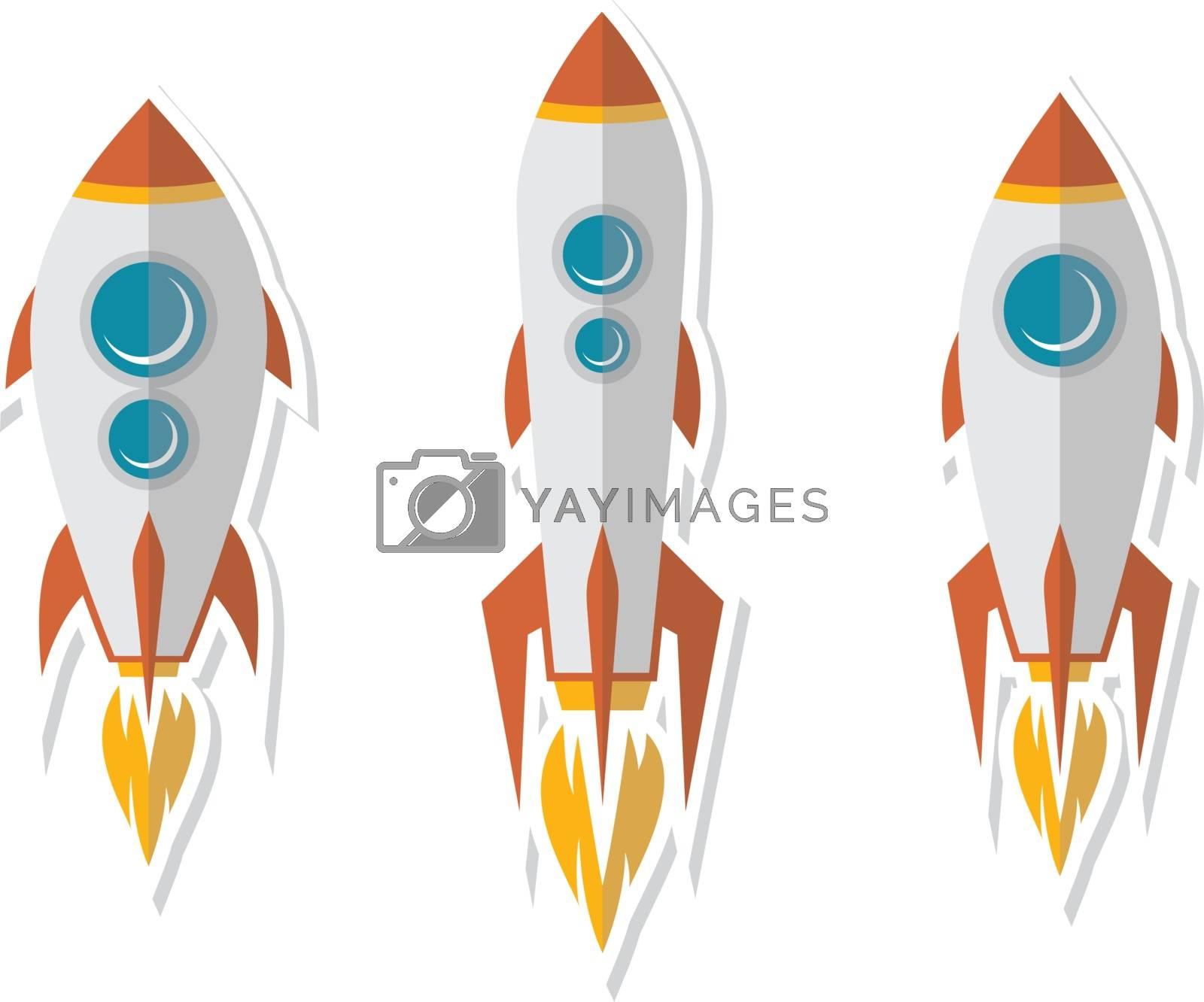 rocket ship sticker label badge flat design vector art set