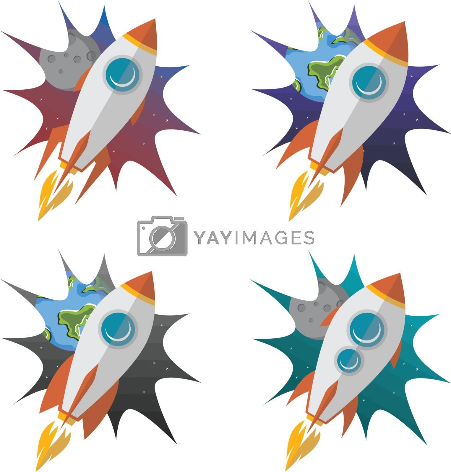 space travel rocket ship science vector art illustration