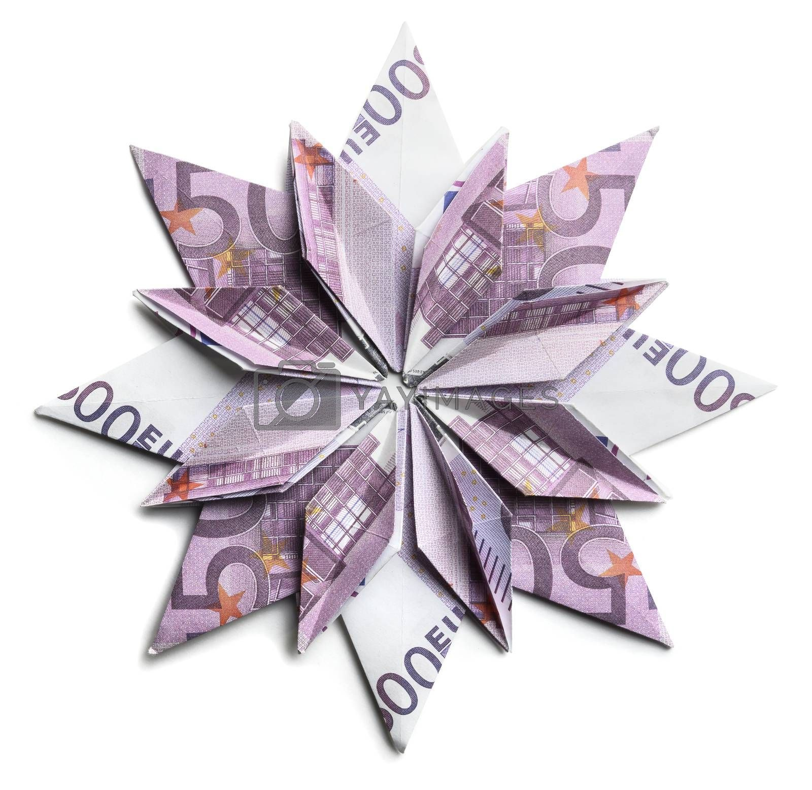 500 Euro banknote in the shape of a snowflake on a white background.