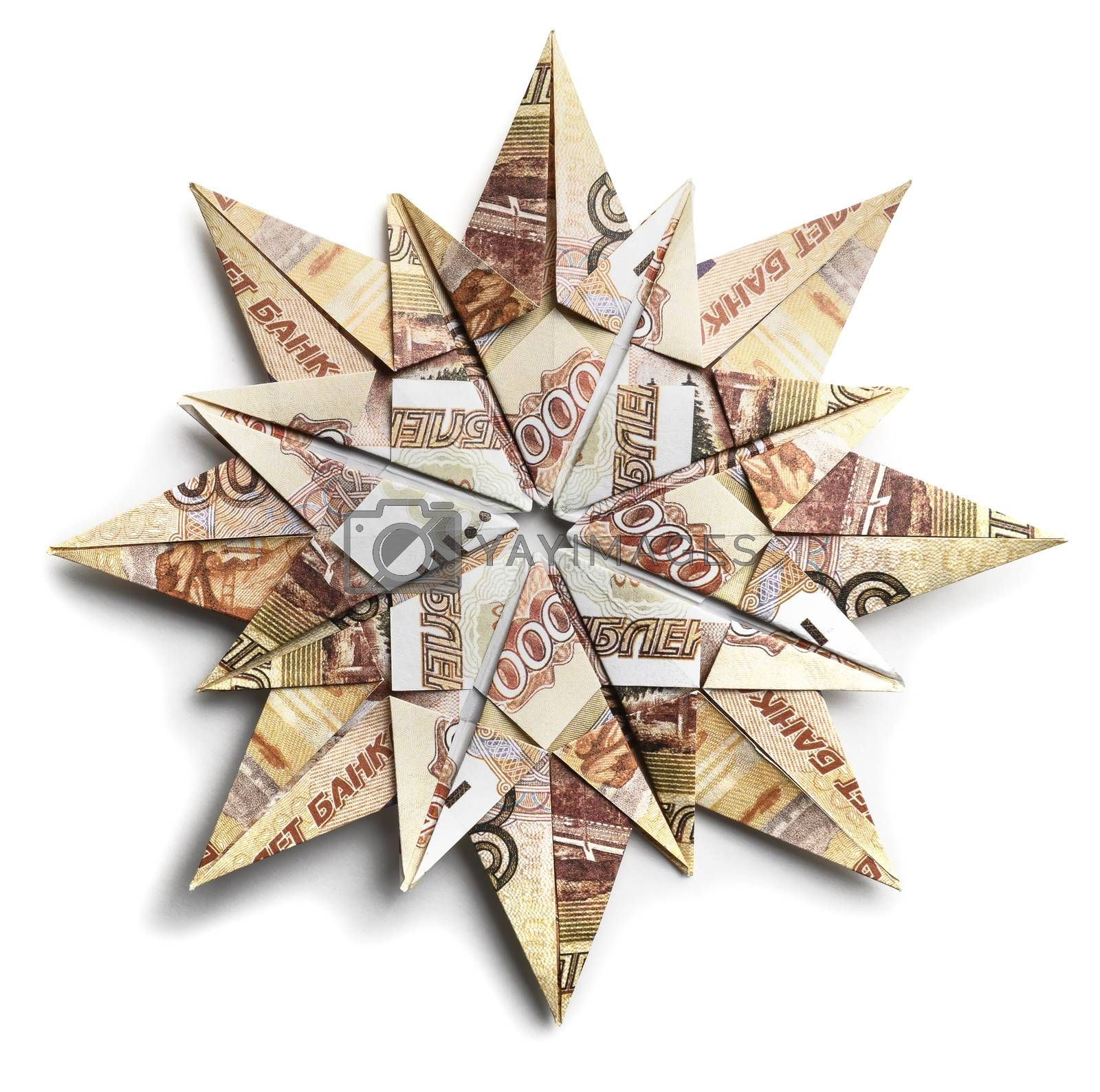 Banknote 5000 rubles in the form of snowflakes on a white background.