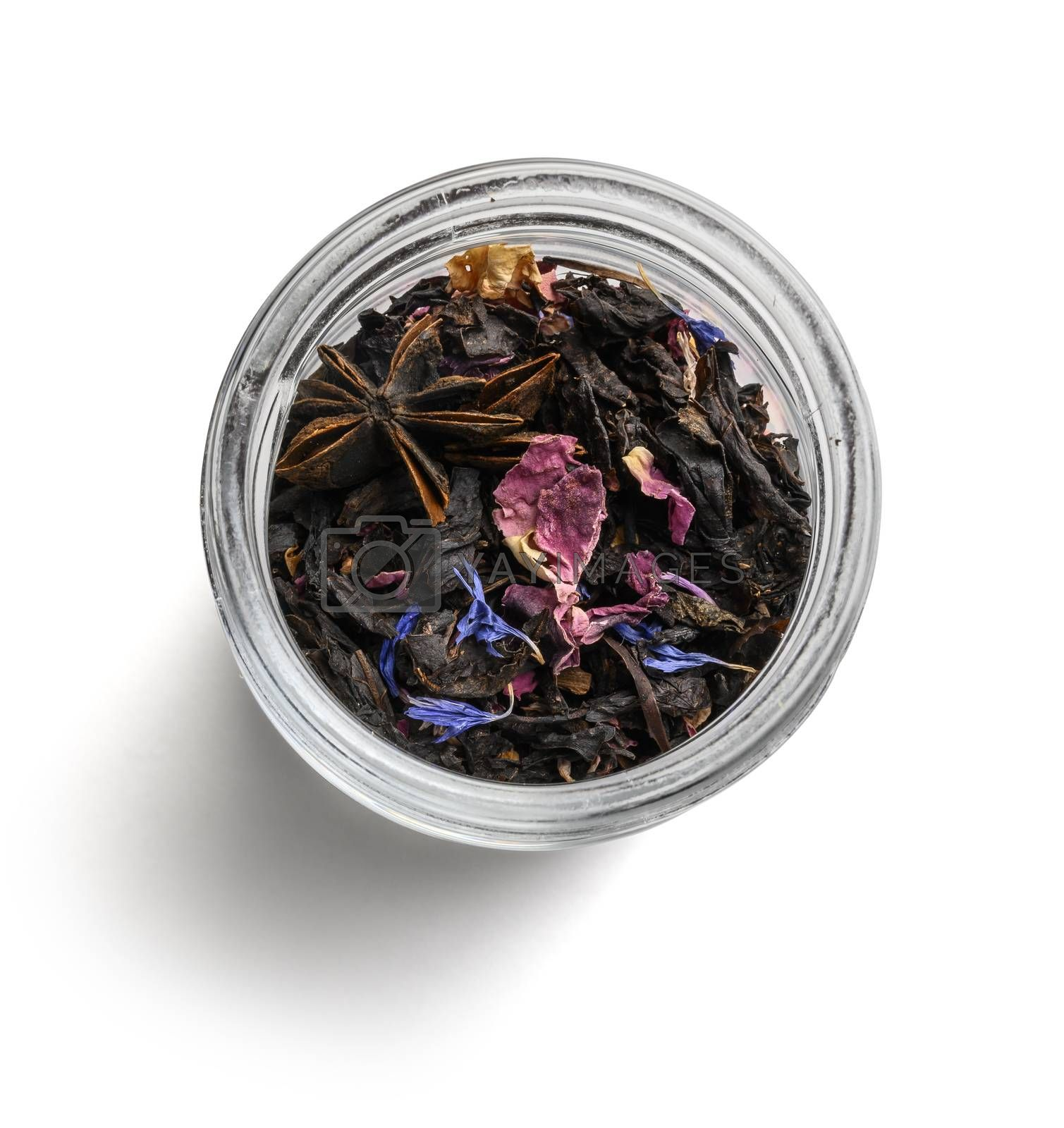 Black tea with natural aromatic additives. Top view on white background by butenkow