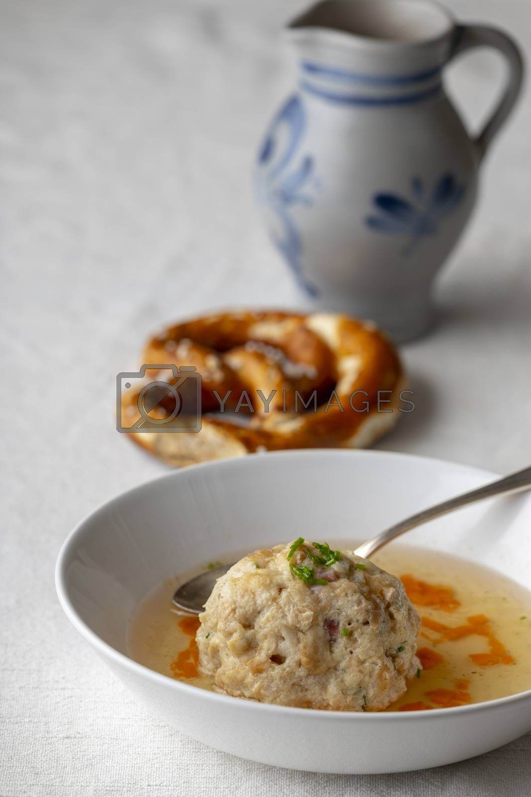bavarian bacon dumpling in a broth
