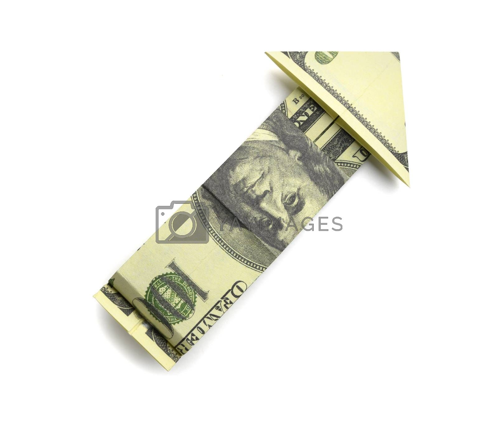 100 us dollars in the shape of an arrow on a white background.