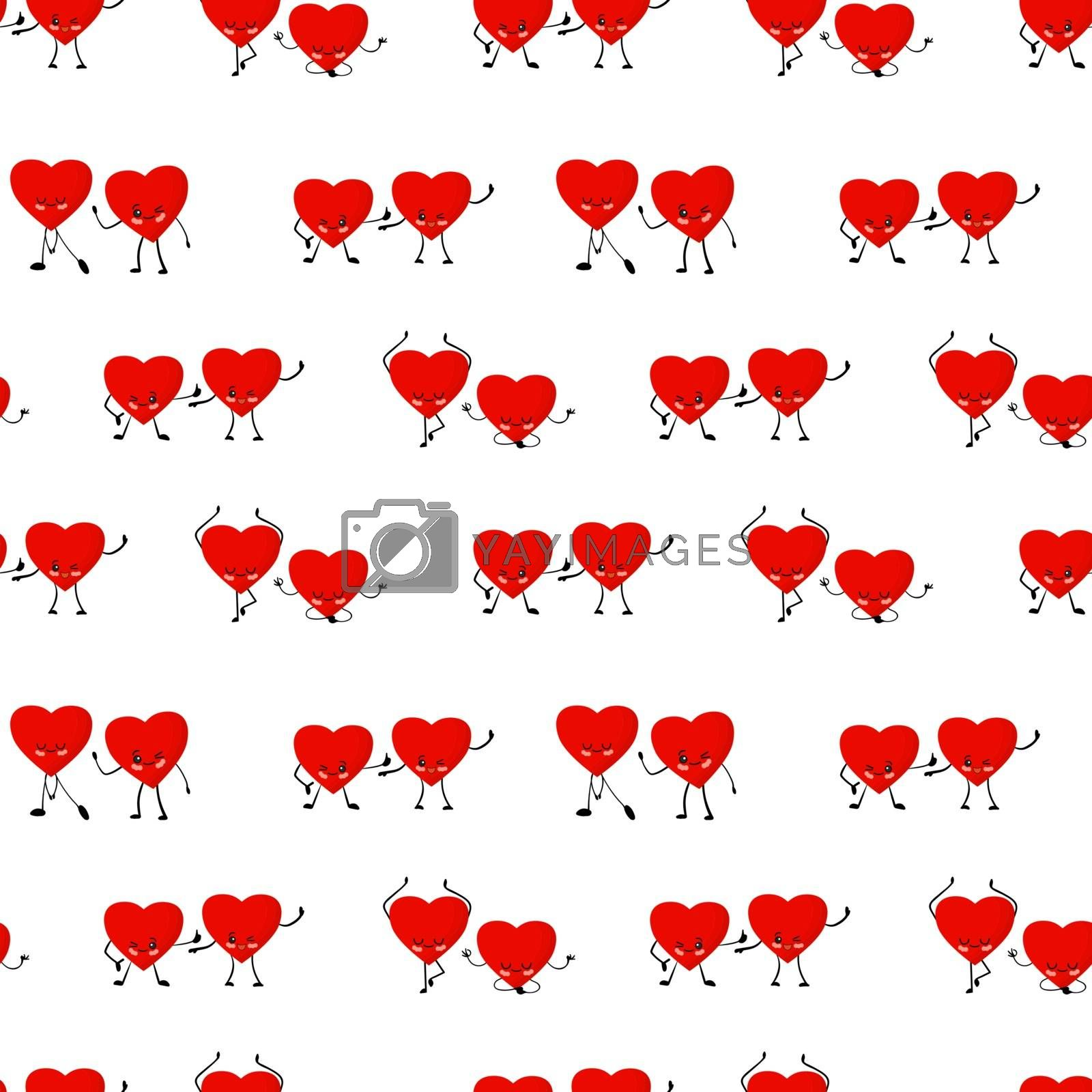 Valentine's day pattern. Red hearts on a white background vector illustration. Heart cute character. Cartoon style. Love and friendship. Textile and wrapping paper design.