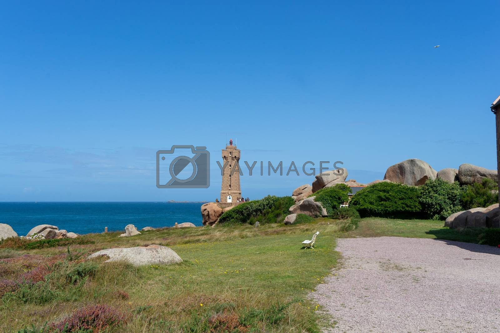Hiking sea shore trail in French Bretagne