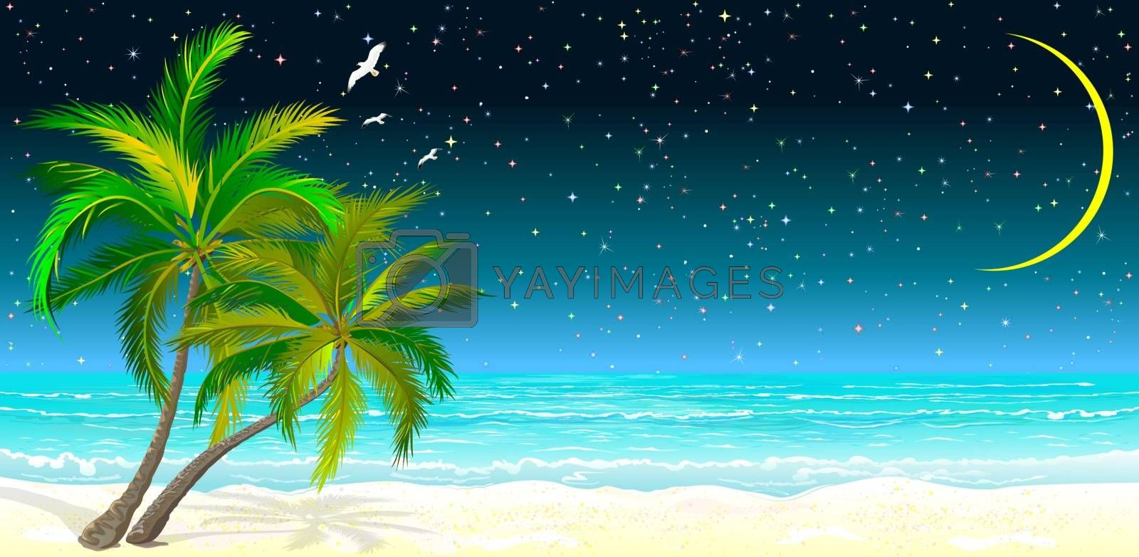 Tropical seascape. Palm trees on the sandy shore against the background of the sea and the night starry sky.