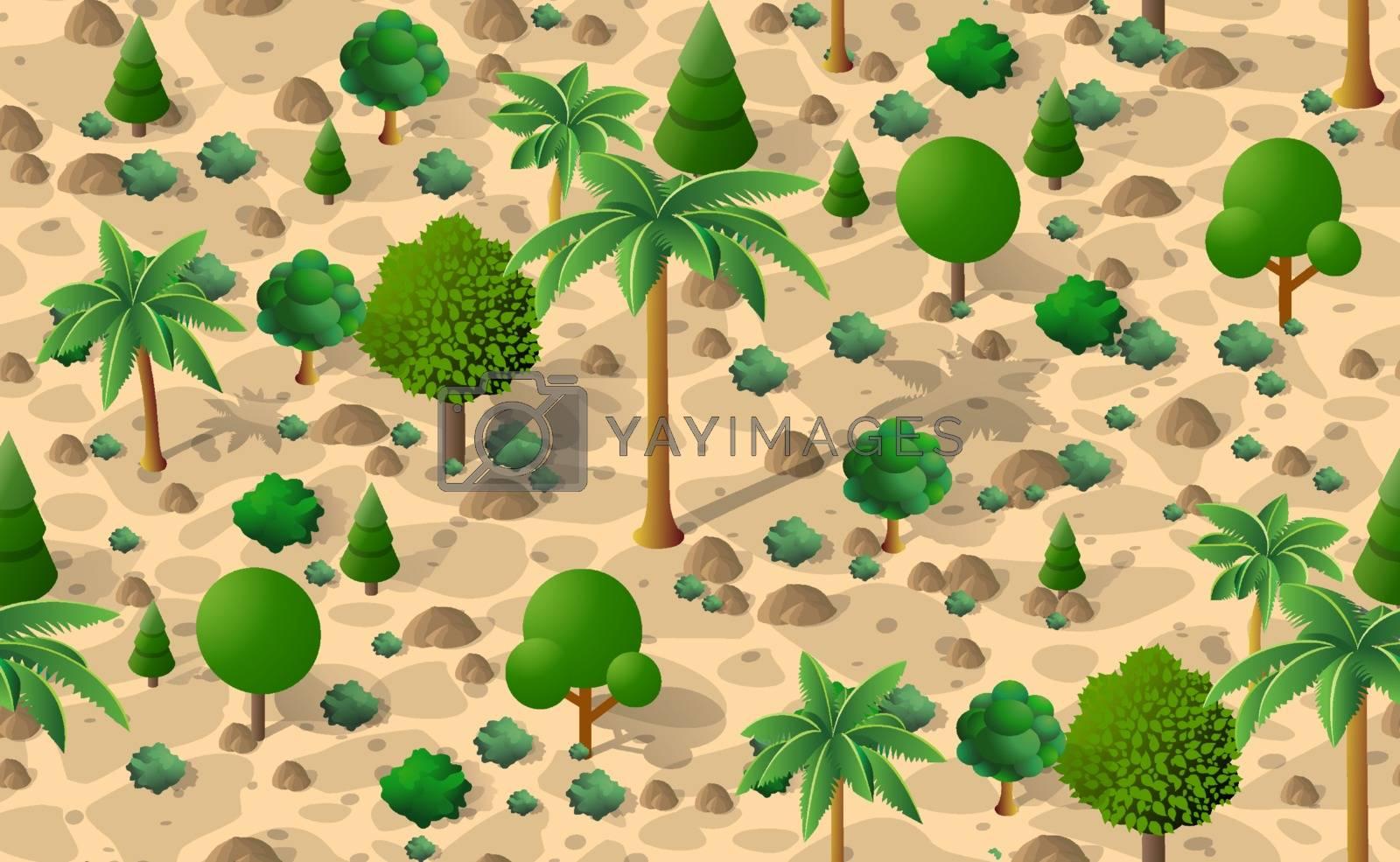 Forest desert pattern seamless background trees desert isometric repeating nature landscape