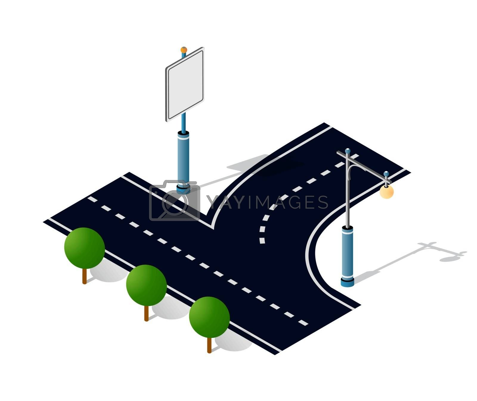 City Road Street Is a Highway with signs and trees. Isometric stock illustration of urban infrastructure.