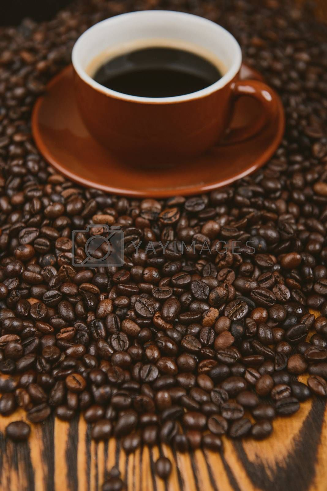 Coffee cup and beans on a background