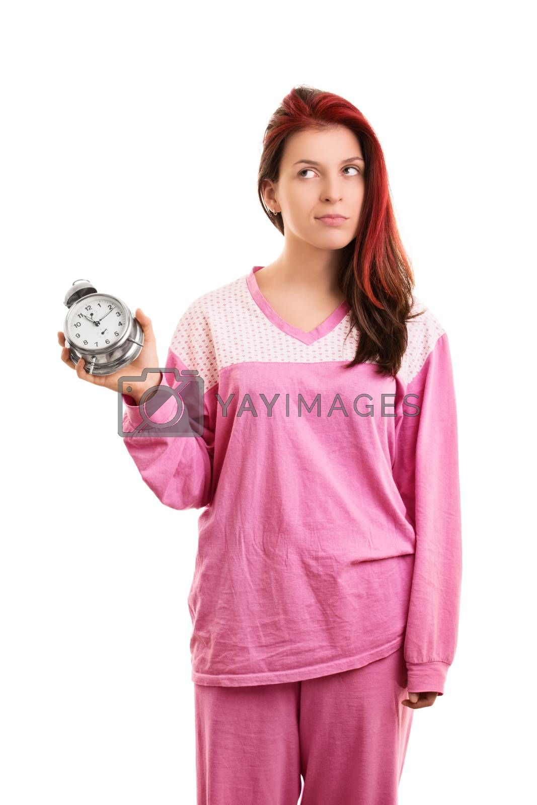 Girl in pajamas annoyed that overslept again by Mendelex