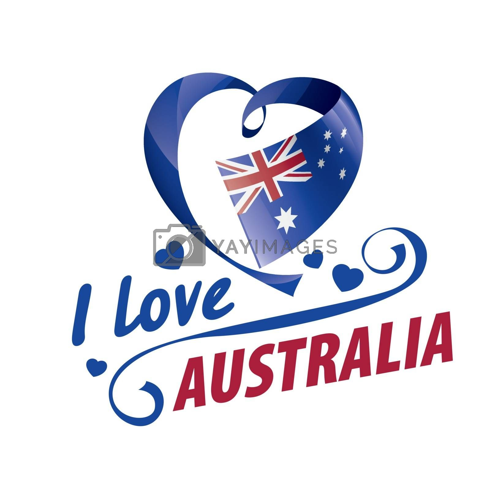 The national flag of the Australia and the inscription I love Australia. Vector illustration.