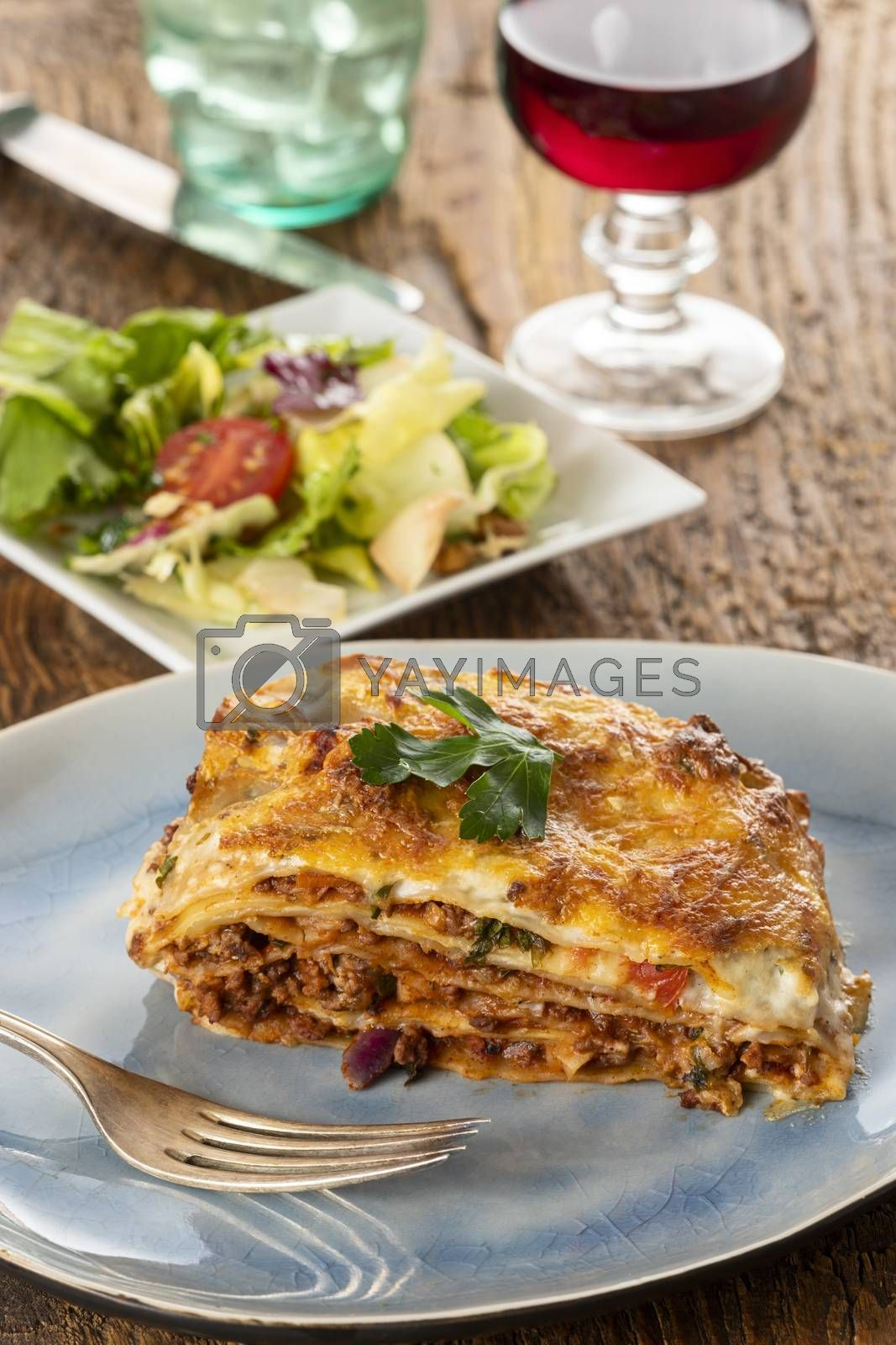 portion of lasagna on a plate  by bernjuer