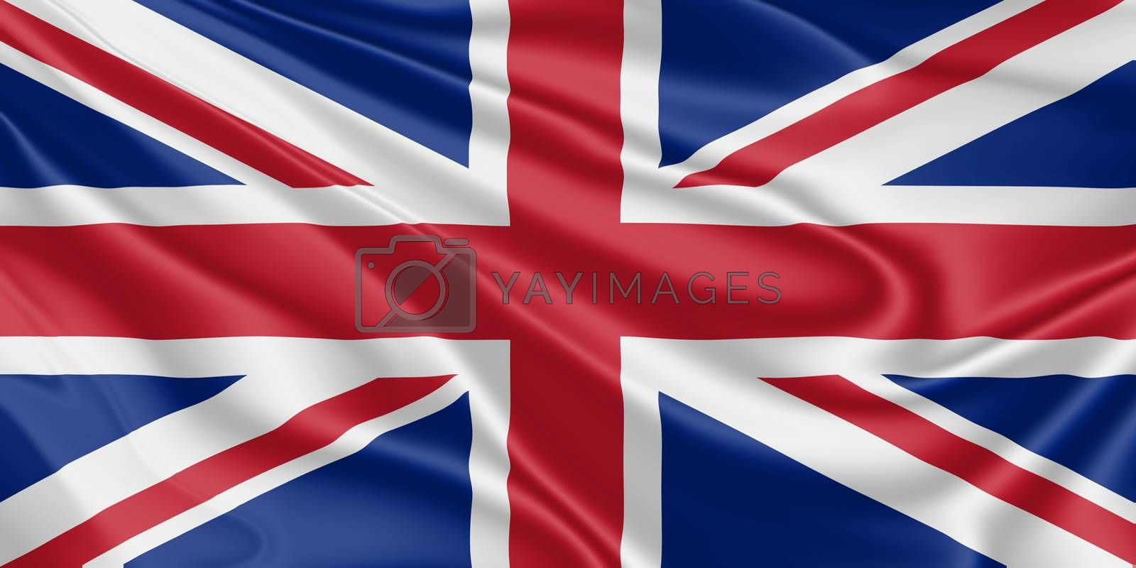 National flag of the United Kingdom fluttering in the wind in 3D illustration